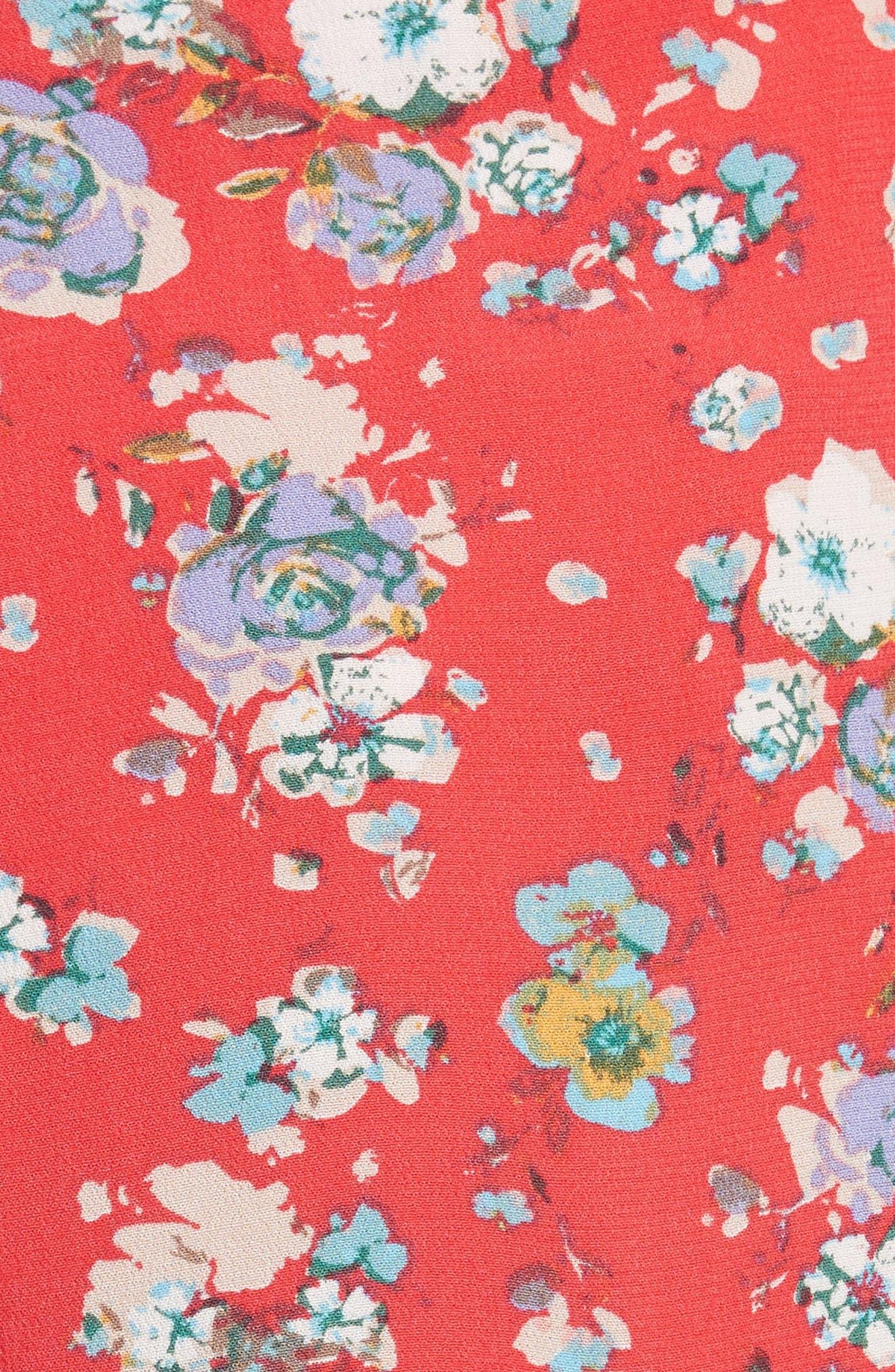 Flirting Fleurs Mini Skort,                             Alternate thumbnail 5, color,                             Red