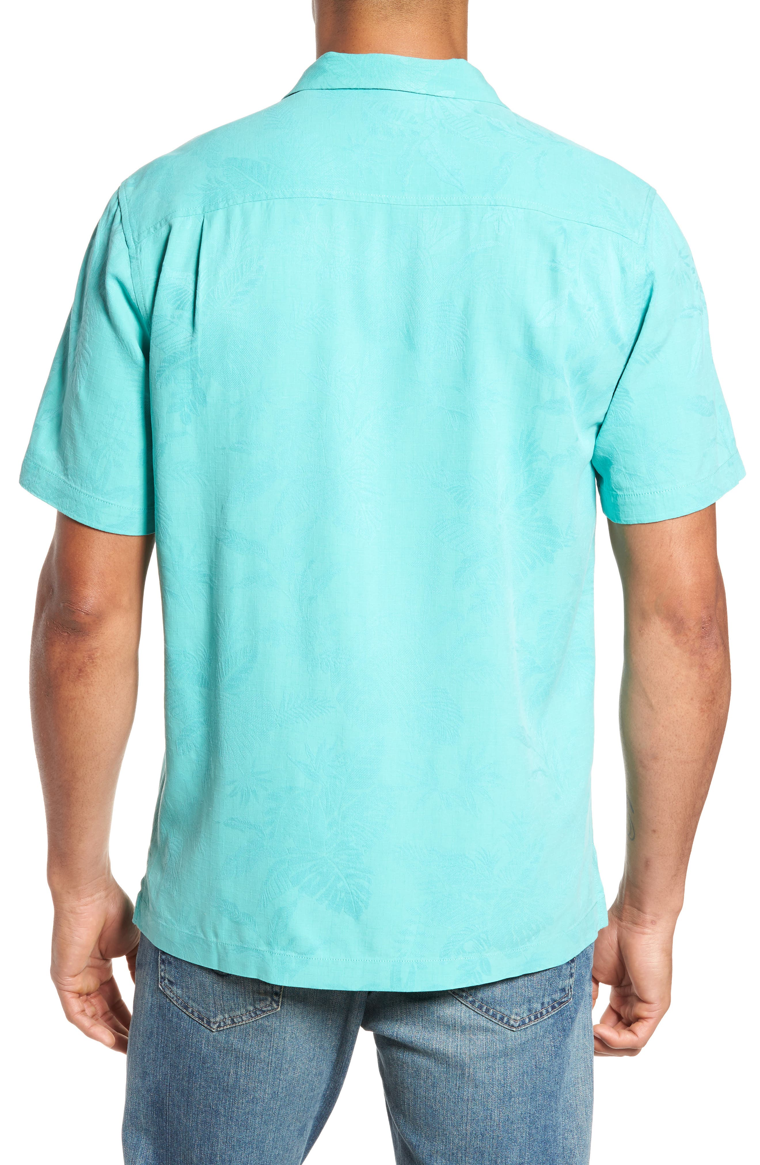 St Lucia Fronds Silk Camp Shirt,                             Alternate thumbnail 2, color,                             Castaway Green