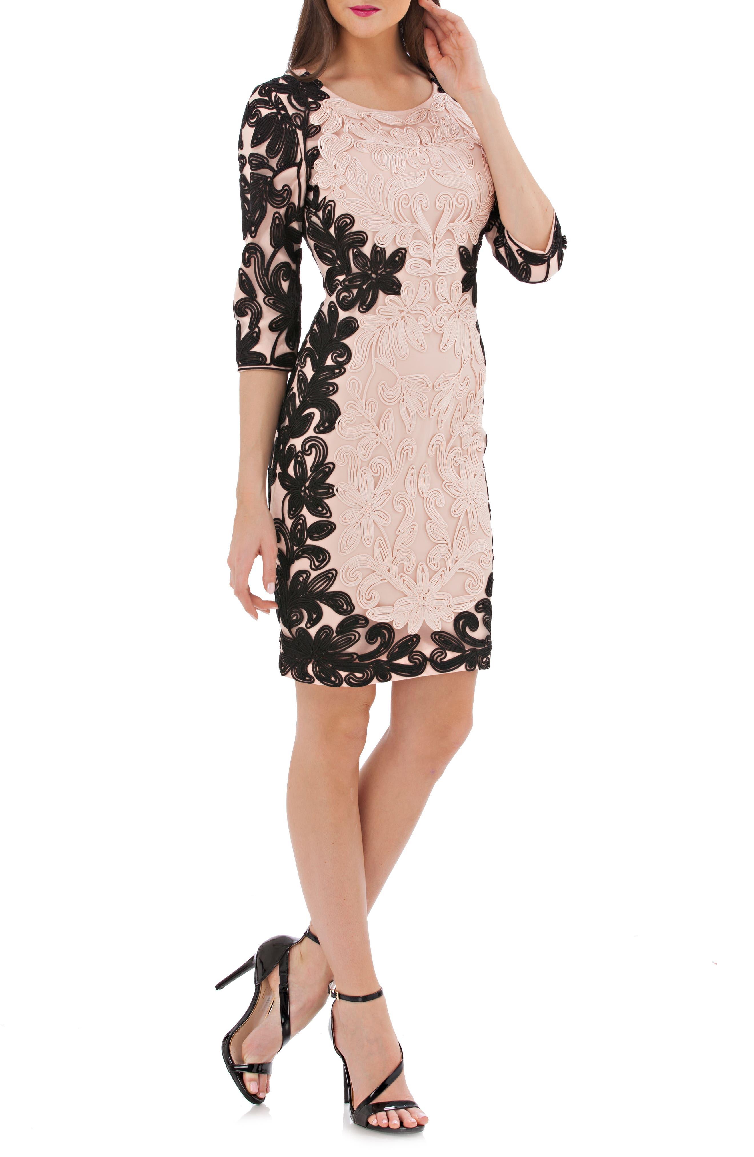 Two-Tone Soutache Sheath Dress,                         Main,                         color, Black/ Blush