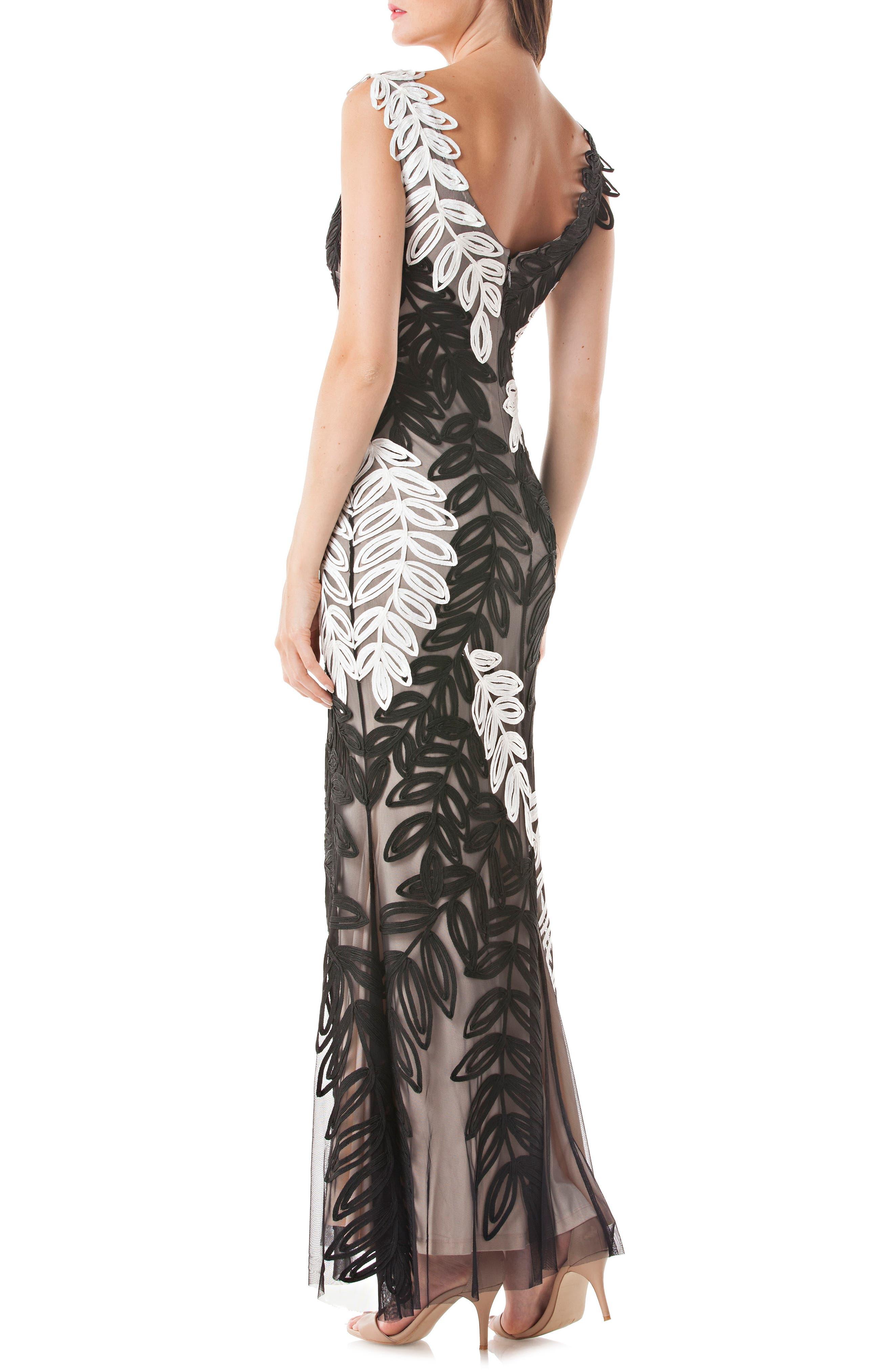 Leaf Soutache Trumpet Gown,                             Alternate thumbnail 2, color,                             Black/ White