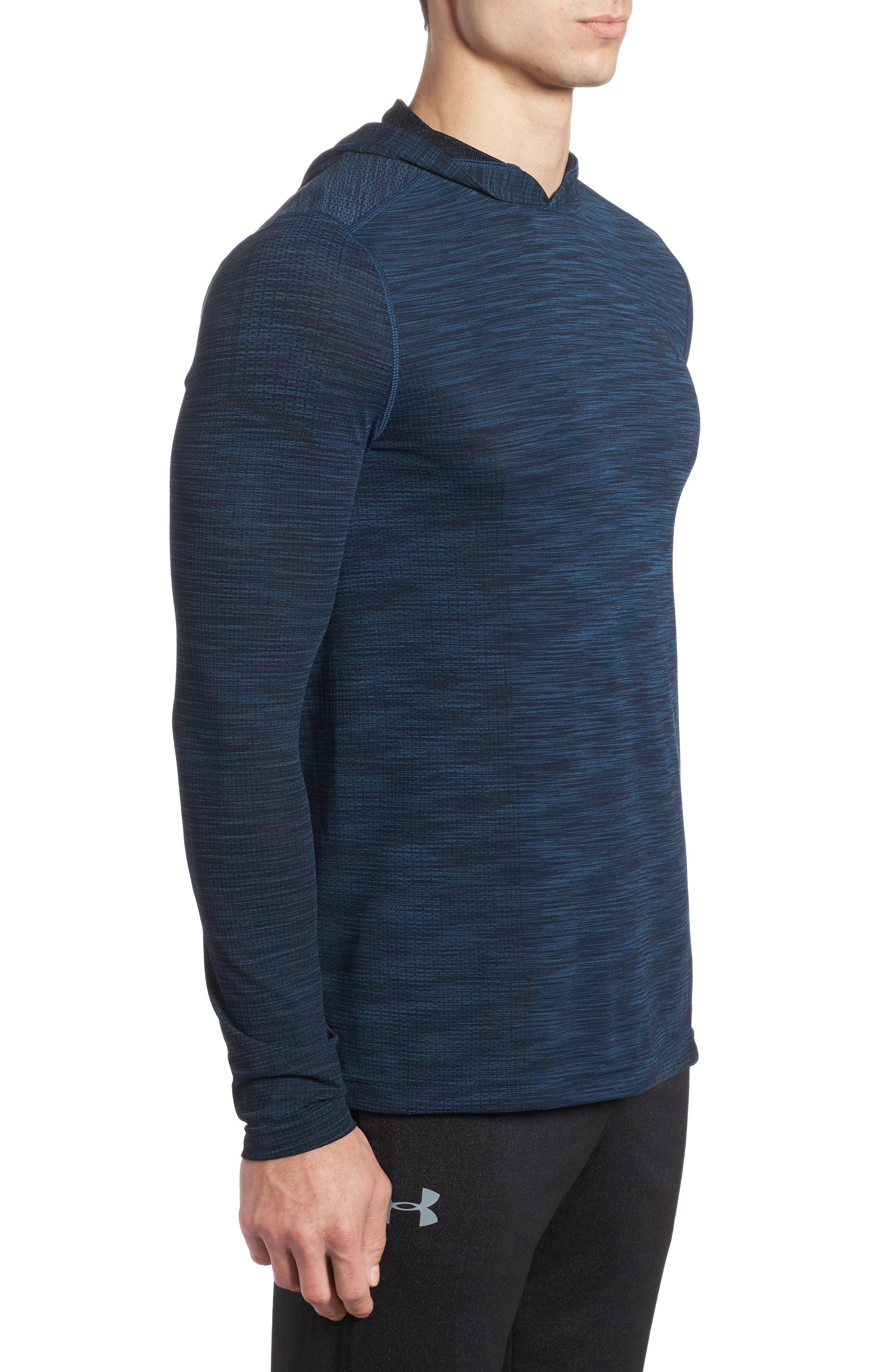 Threadbone Fitted Seamless Hoodie,                             Alternate thumbnail 3, color,                             True Ink/ Anthracite