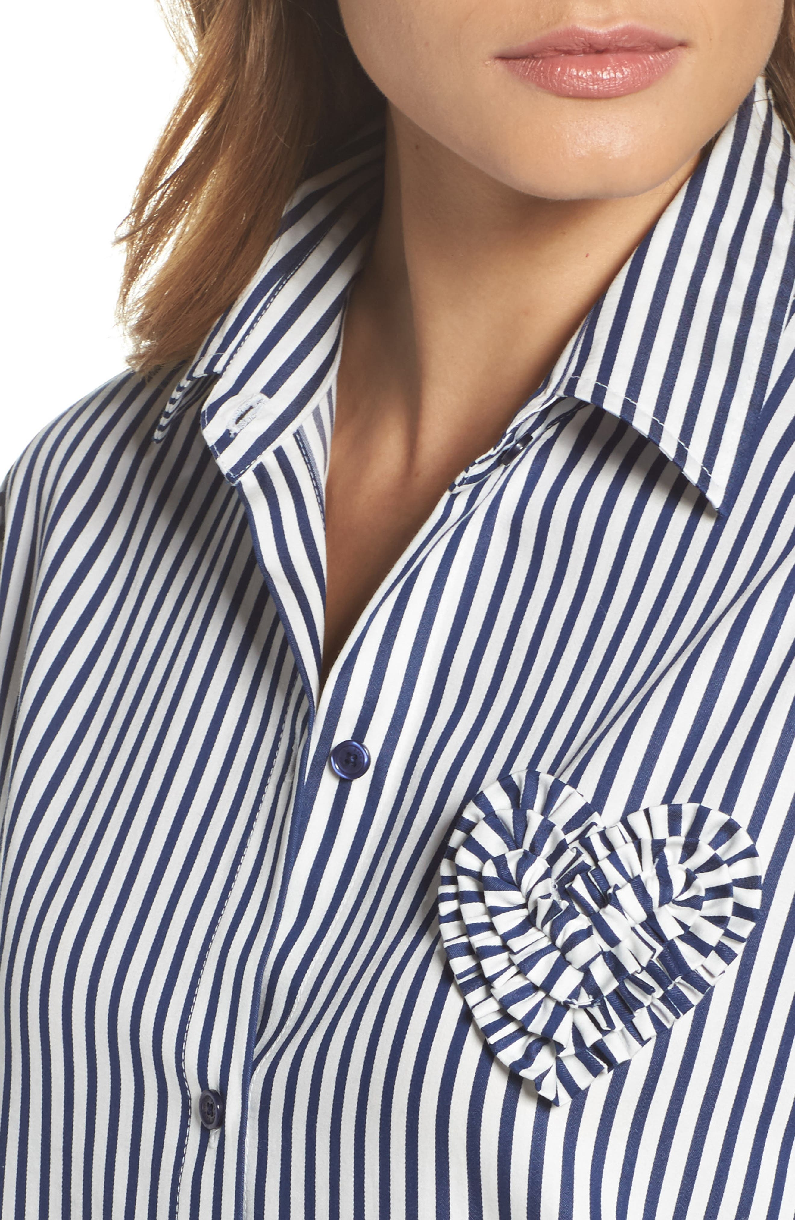 stripe sleep shirt,                             Alternate thumbnail 4, color,                             Navy Stripe