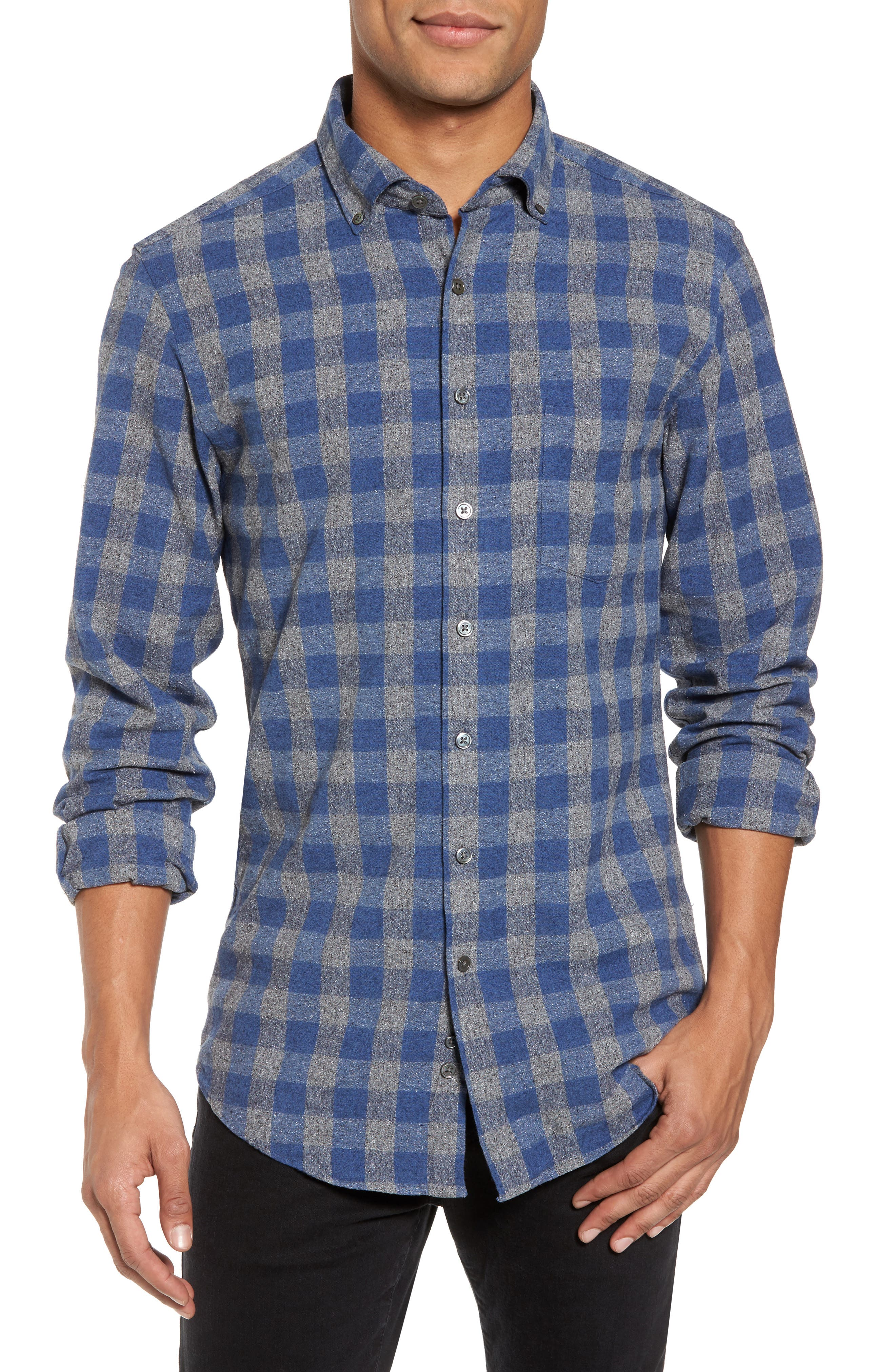 Avon River Sports Fit Check Flannel Shirt,                         Main,                         color, Midnight