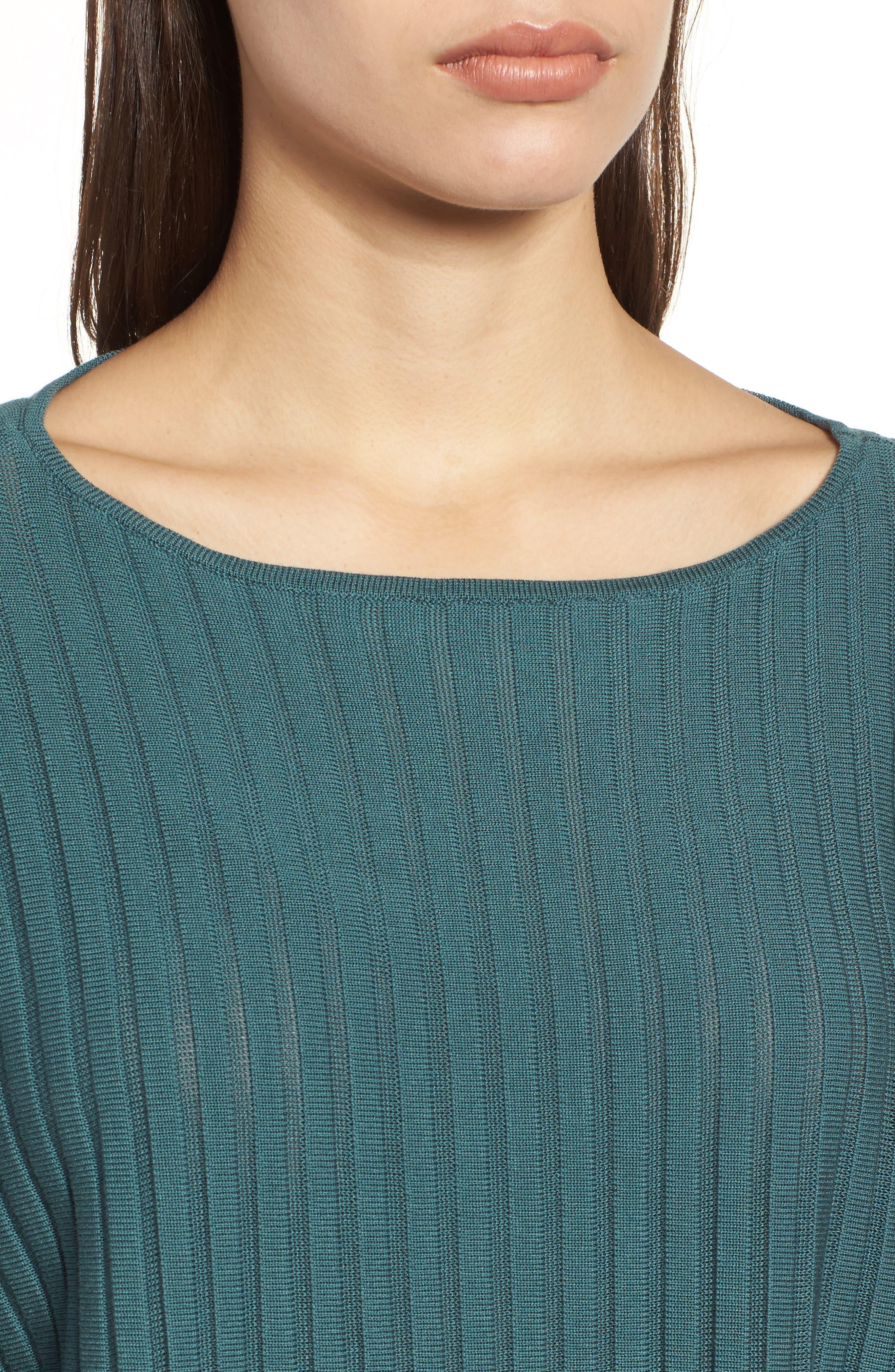 Alternate Image 4  - Eileen Fisher Ribbed Bateau Neck Sweater