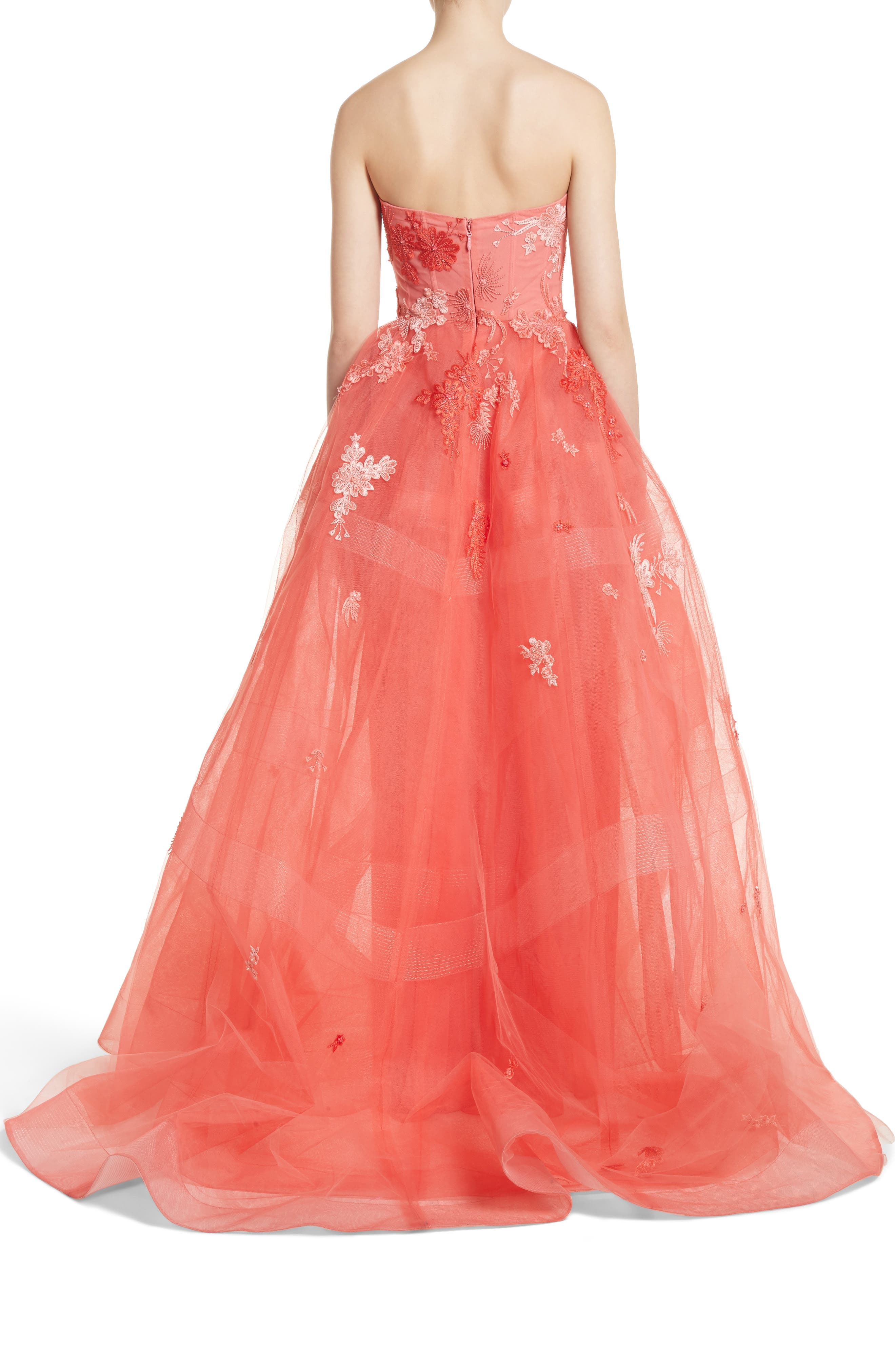 Embroidered Strapless Ballgown,                             Alternate thumbnail 2, color,                             Coral
