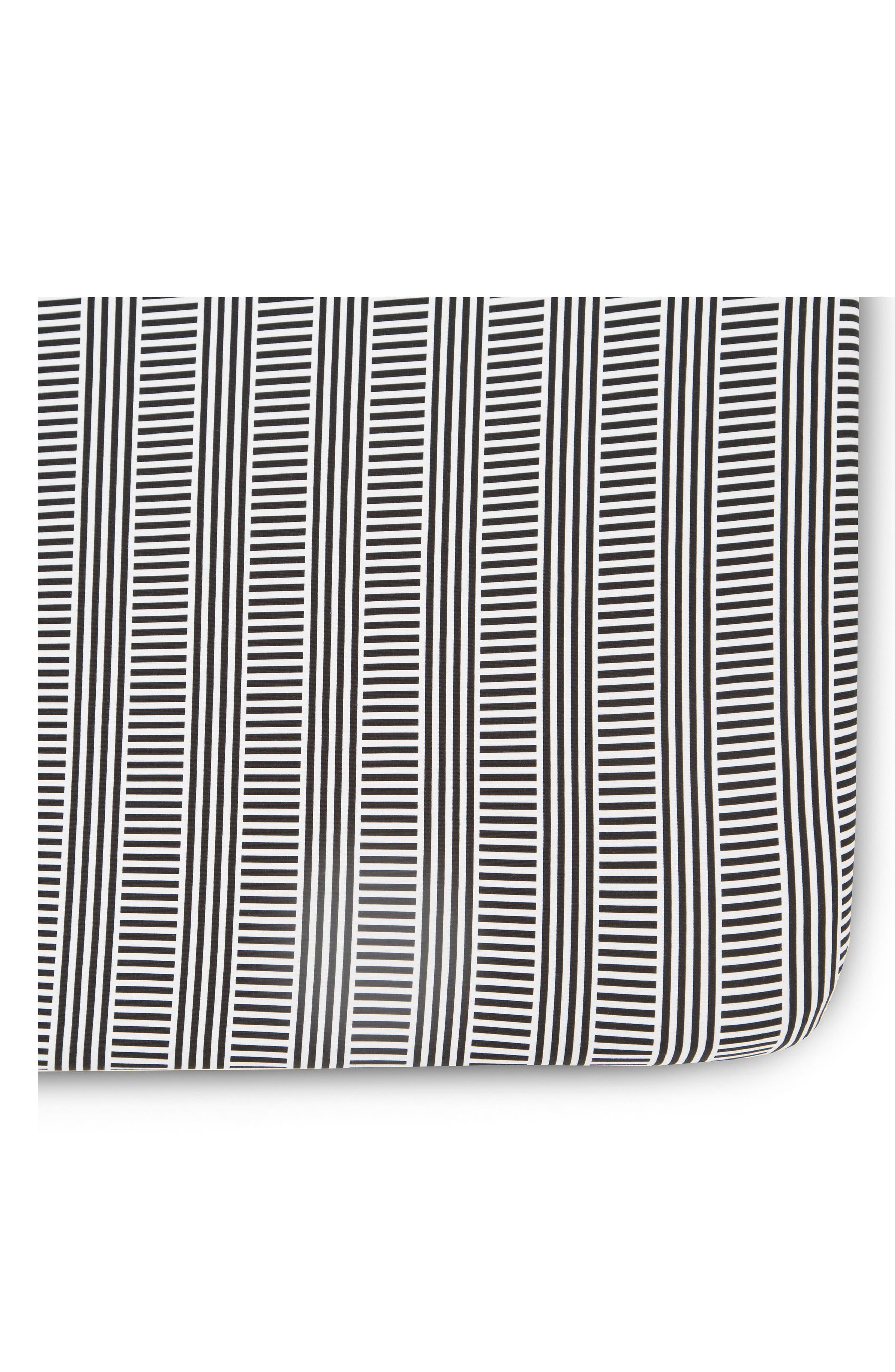 Fitted Crib Sheet,                             Main thumbnail 1, color,                             Black/ White