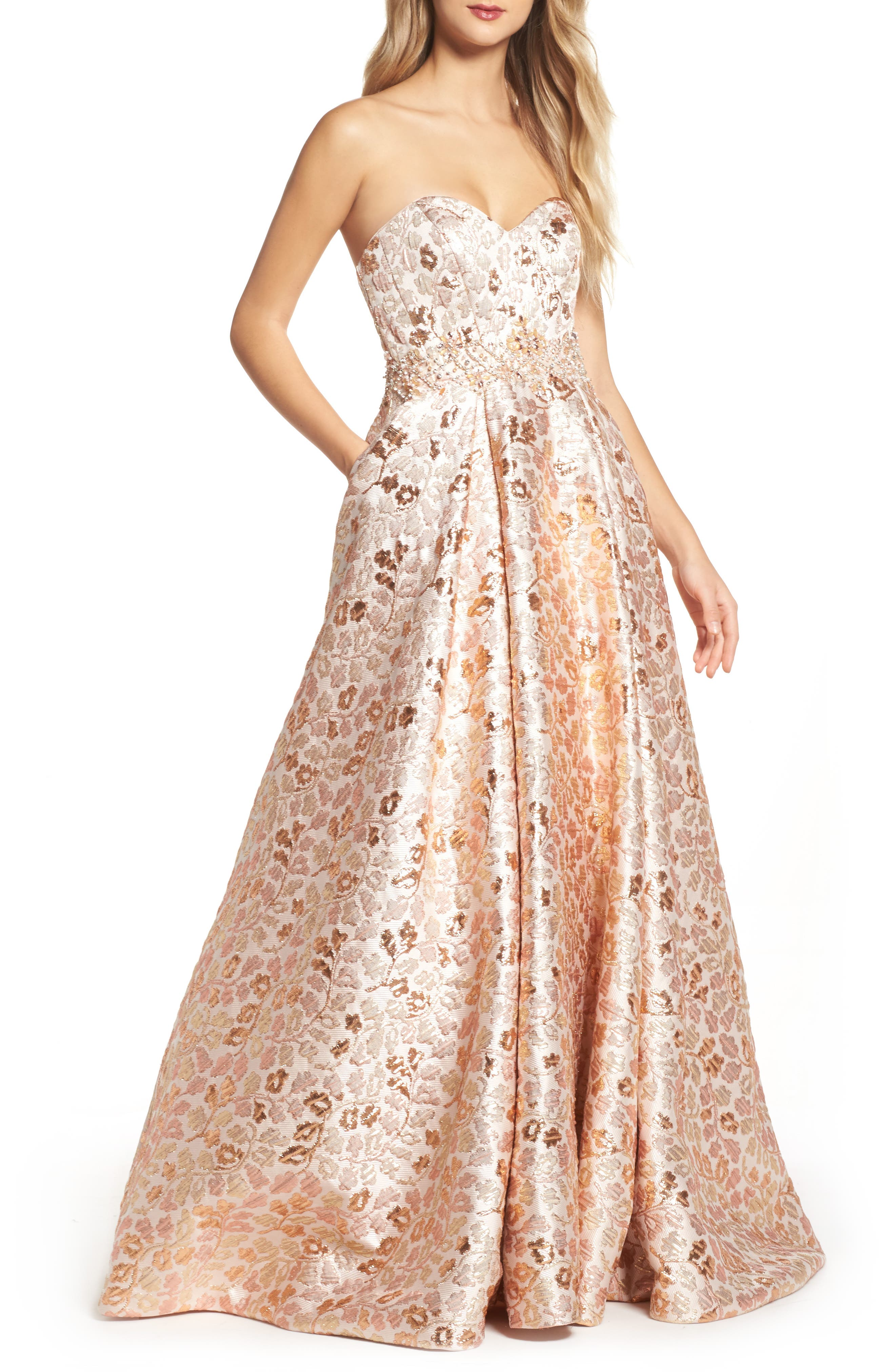 Strapless Jacquard Ballgown,                         Main,                         color, Rose Gold