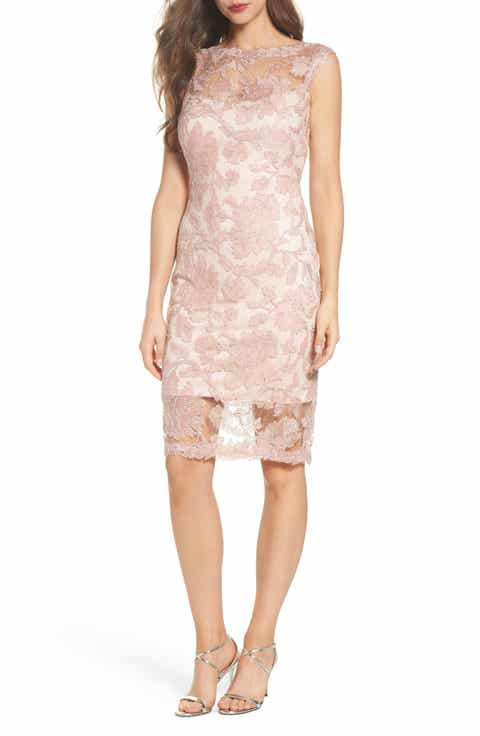 Tadashi Shoji Corded Lace Sheath Dress Regular Pee