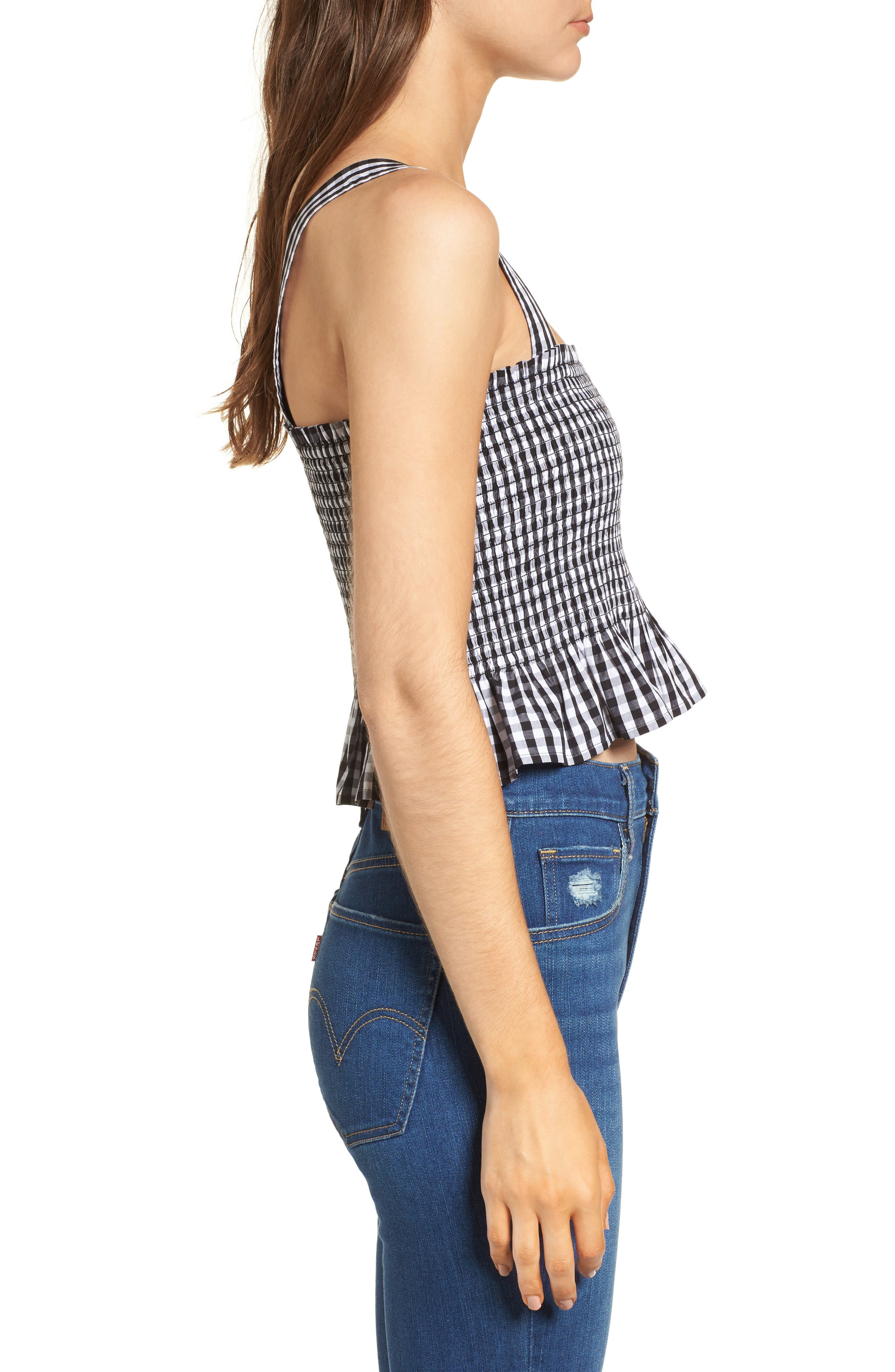 Smocked Gingham Crop Tank,                             Alternate thumbnail 3, color,                             Black Lexi Gingham