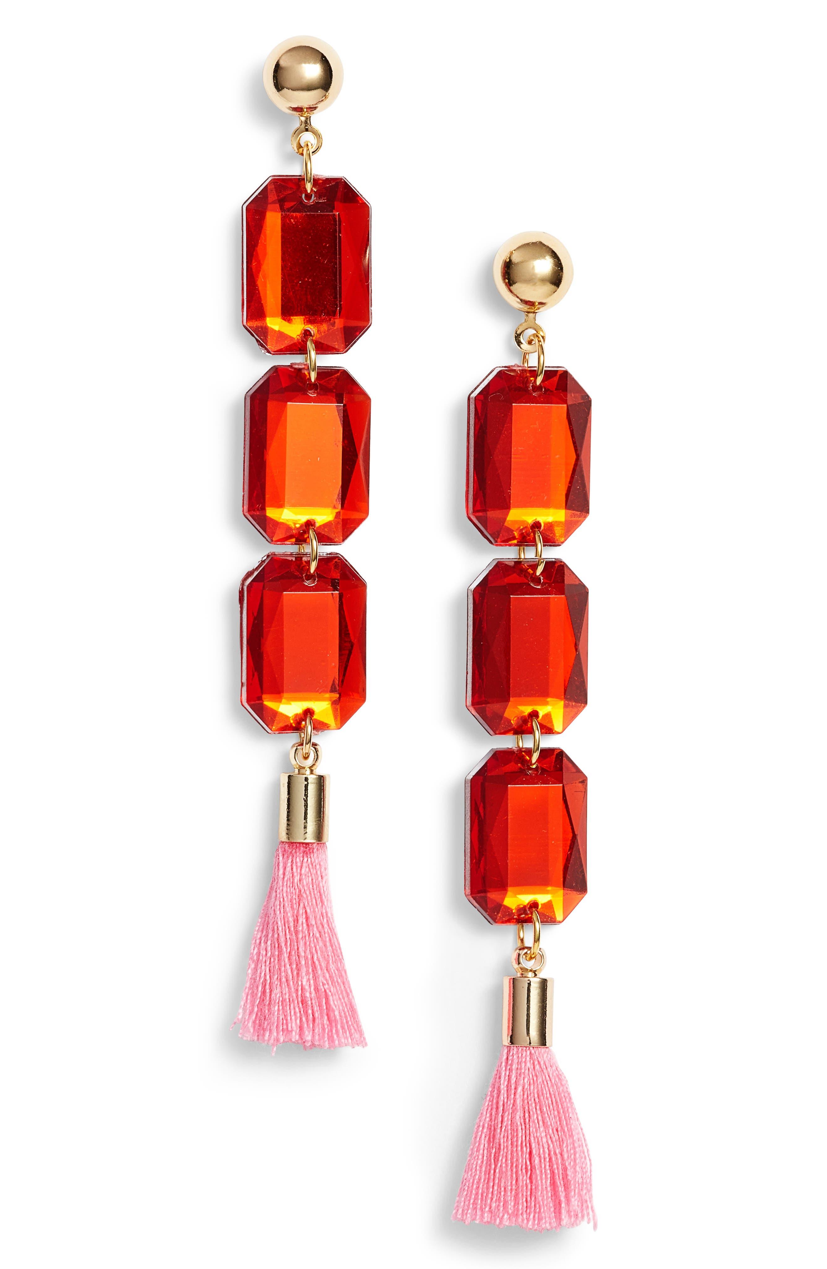 Bon Bon Drop Earrings,                             Main thumbnail 1, color,                             Gold/ Red/ Pink