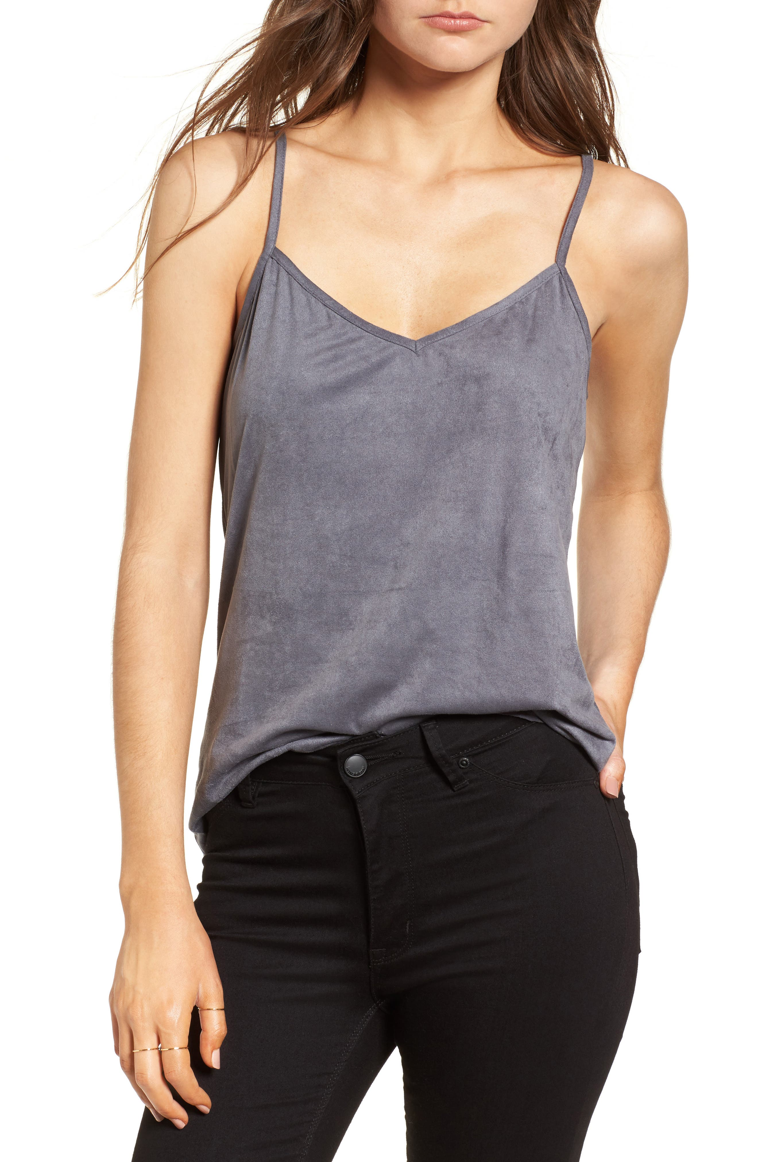Main Image - Mimi Chica Faux Suede Camisole Tank