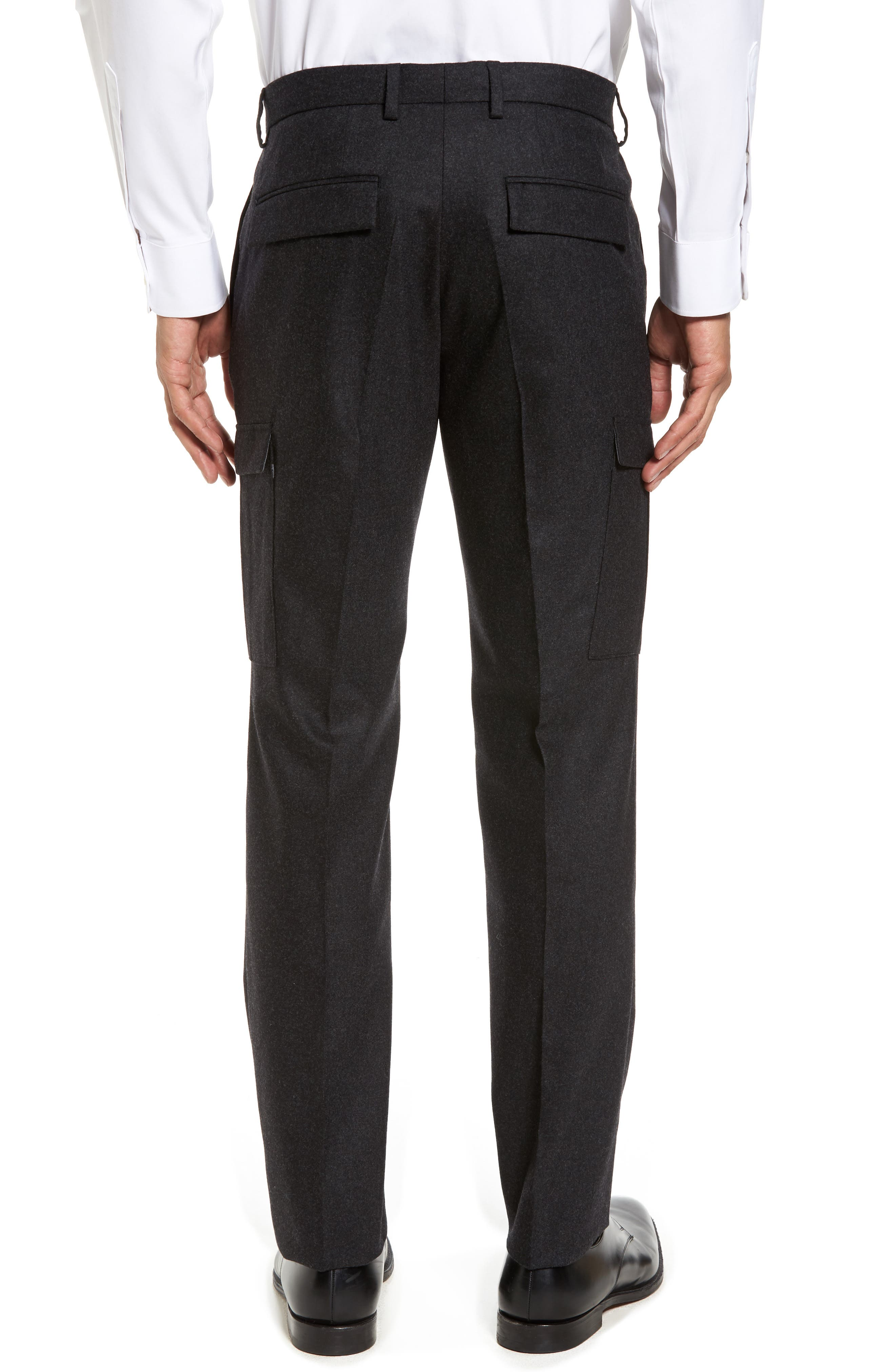 Balour Flat Front Stretch Solid Wool & Cashmere Cargo Trousers,                             Alternate thumbnail 2, color,                             Dark Grey