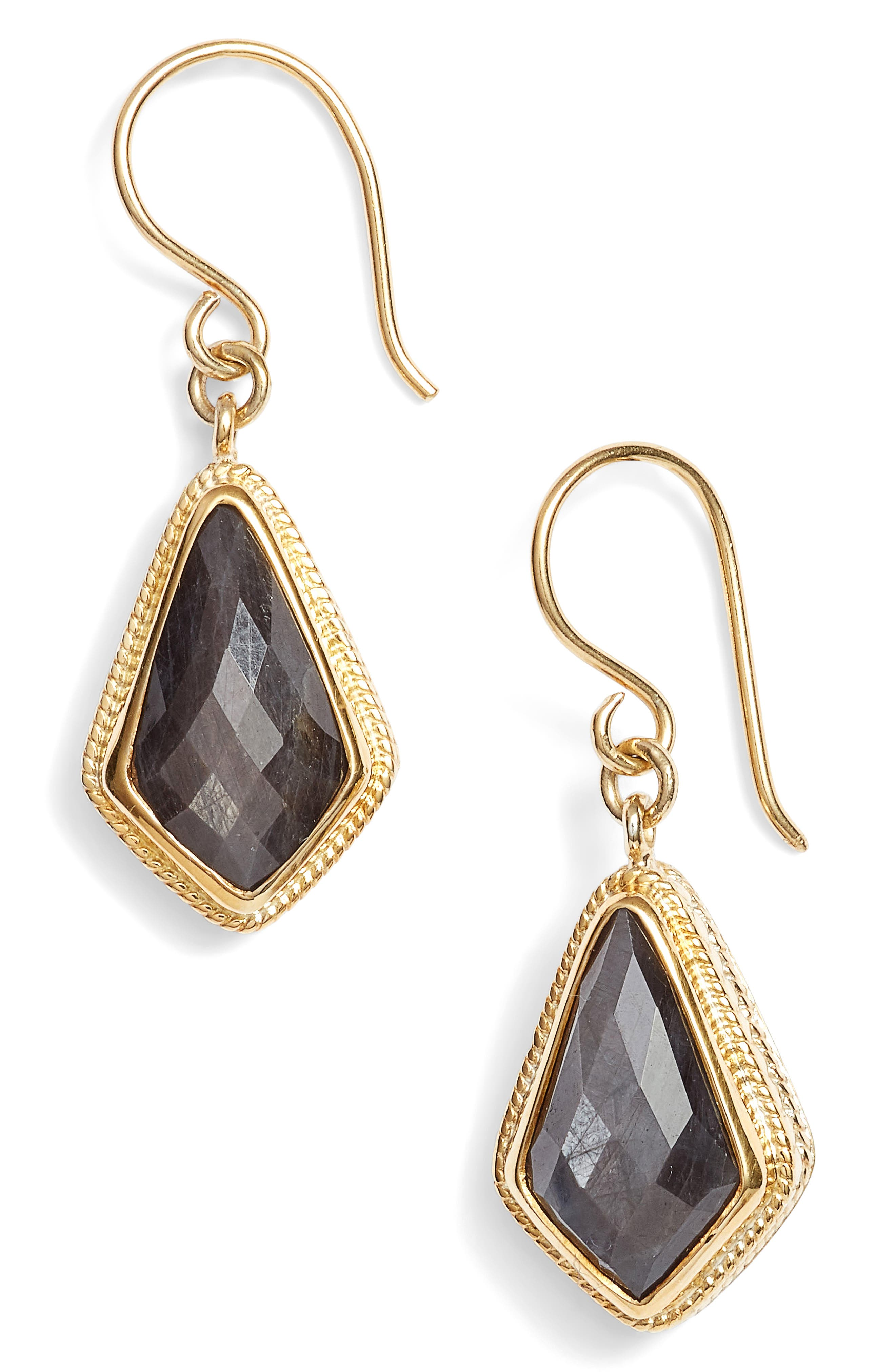 Grey Sapphire Kite Earrings,                         Main,                         color, Gold/ Silver/ Grey Sapphire