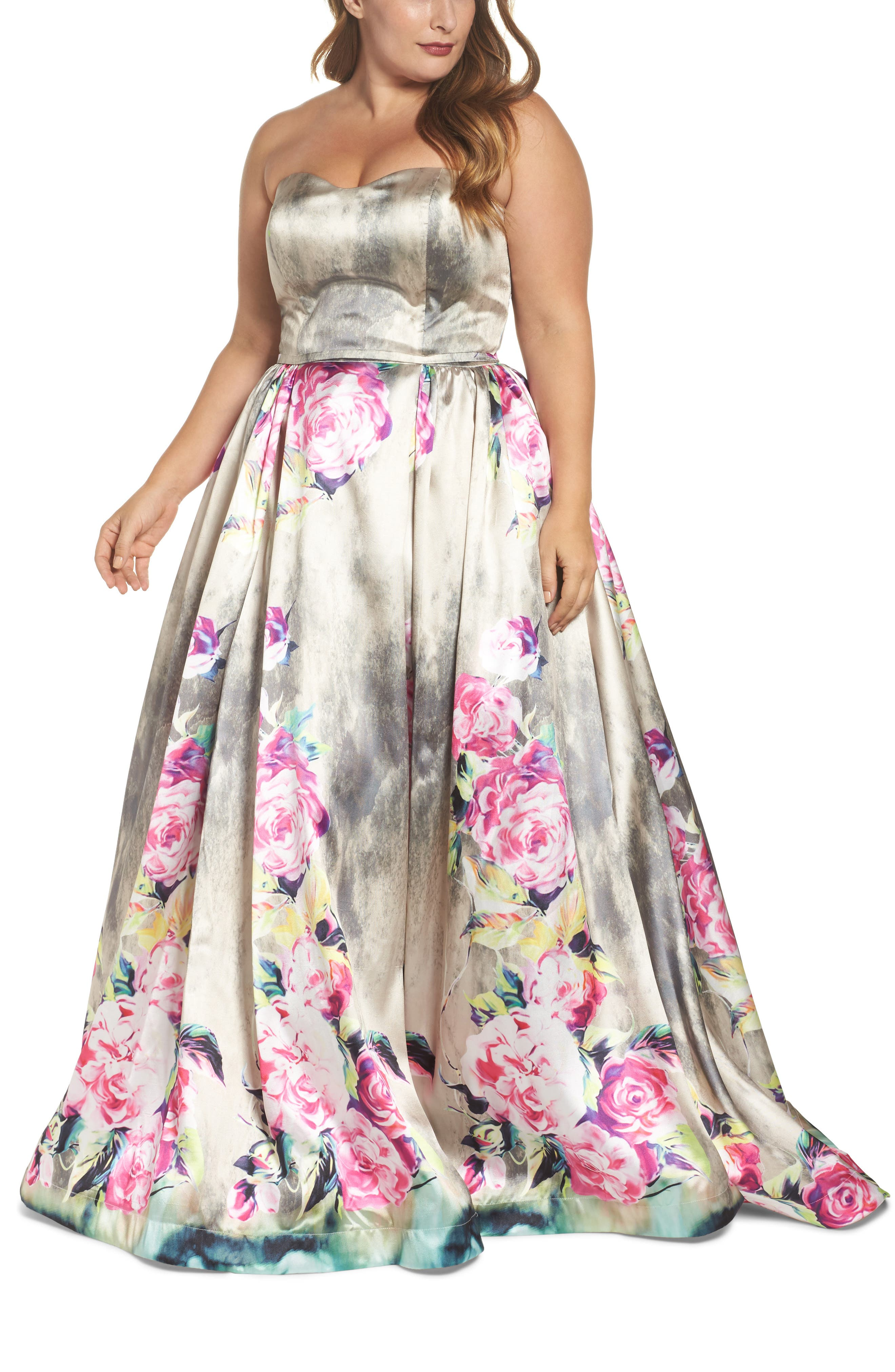 Mac Duggal Floral Bustier Ballgown (Plus Size)