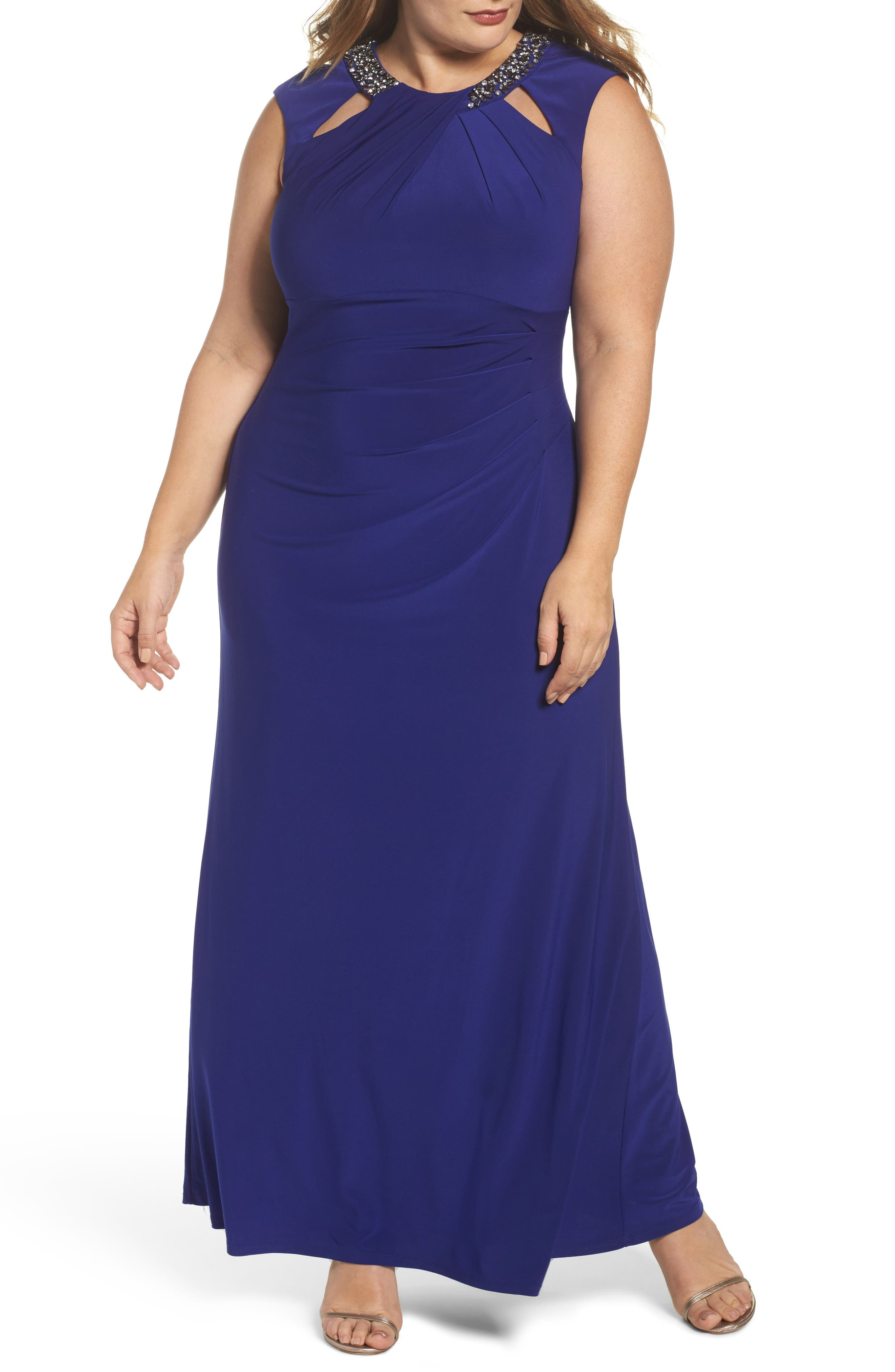 Beaded Neck Ruched Gown,                         Main,                         color, Cobalt