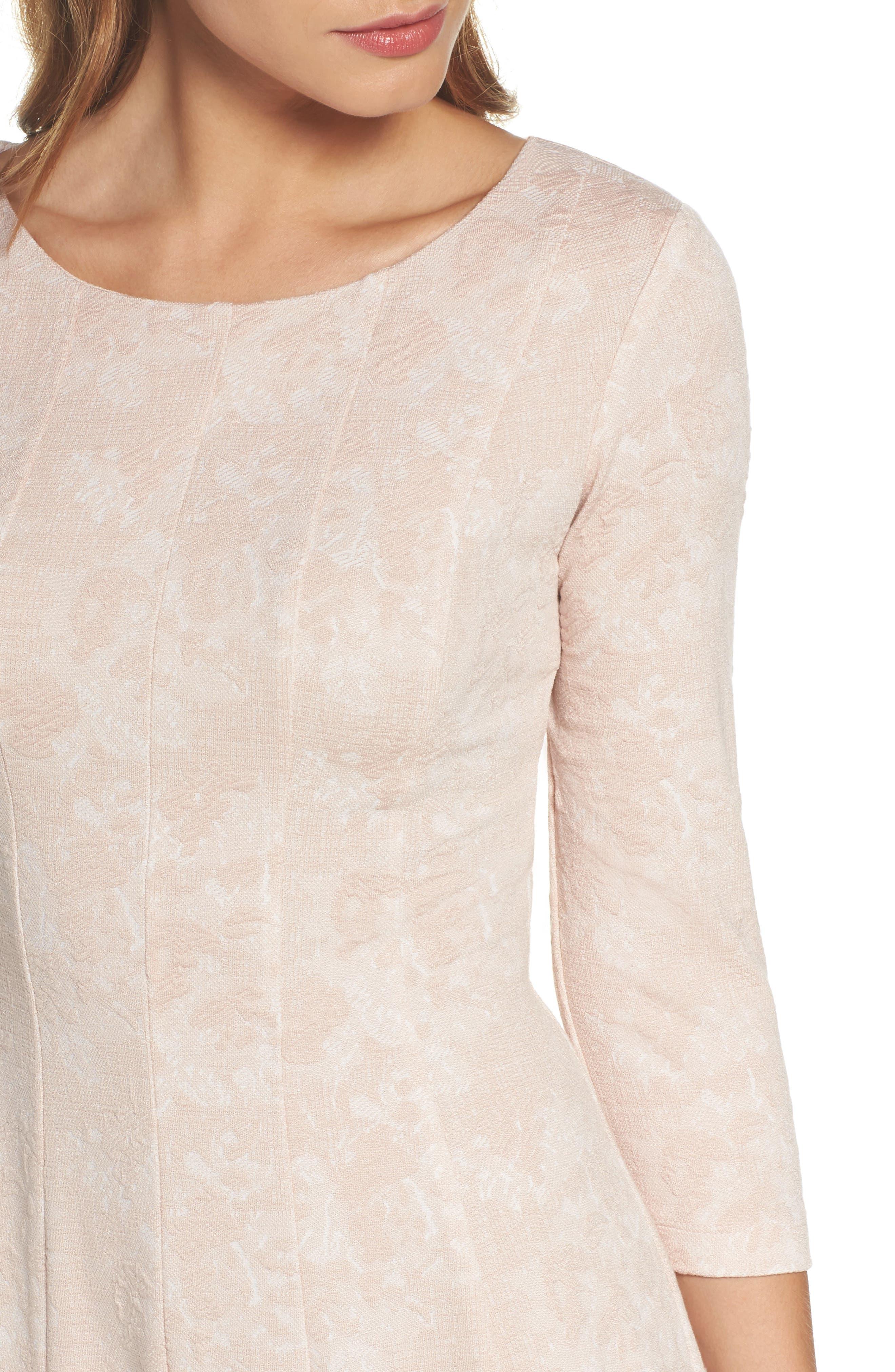Jacquard Knit Fit & Flare Dress,                             Alternate thumbnail 4, color,                             Blush