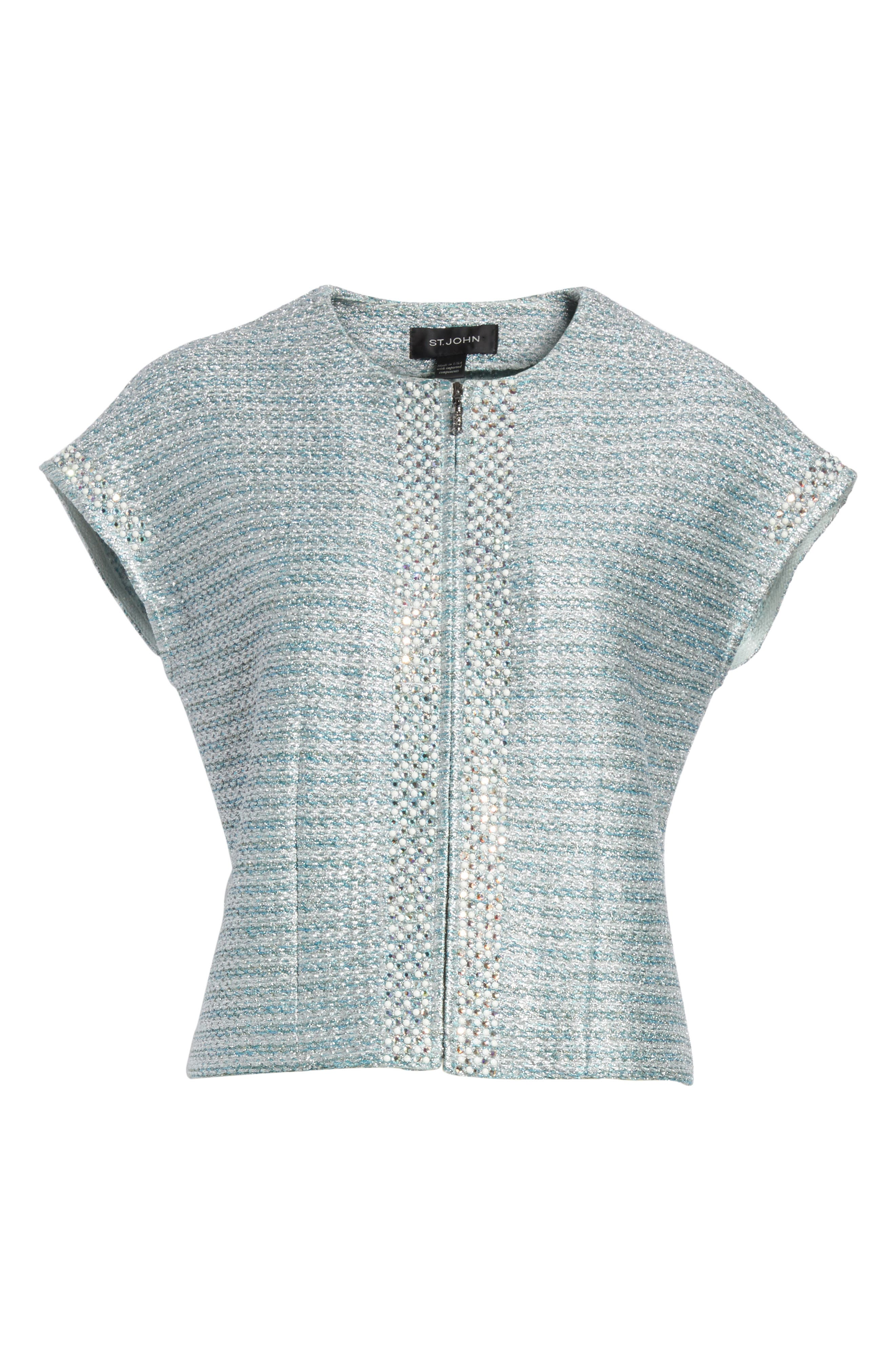 Gleam Metallic Knit Bolero,                             Alternate thumbnail 7, color,                             Mint Multi