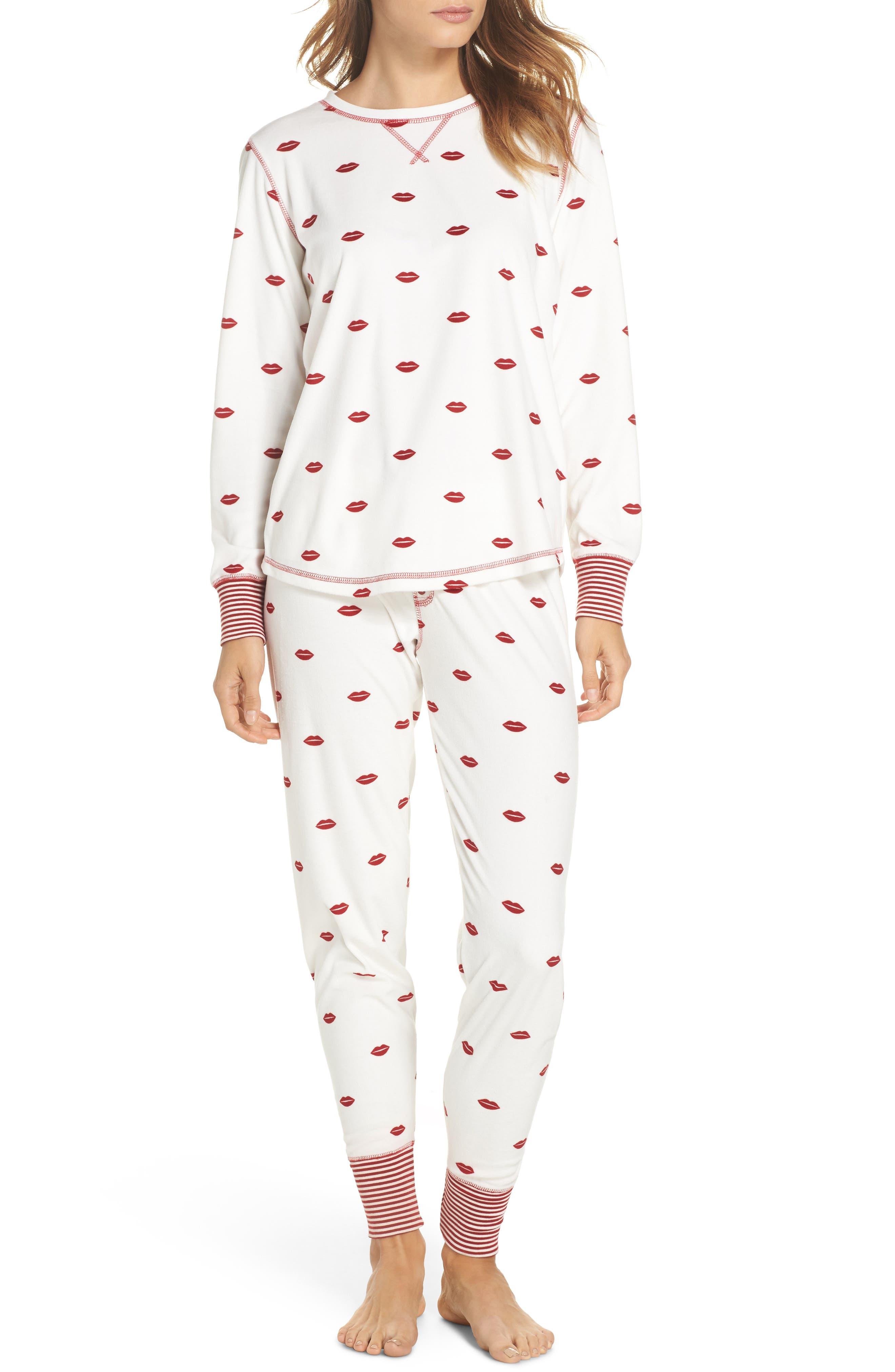 Lip Print Pajama Pants,                             Alternate thumbnail 5, color,                             Natural