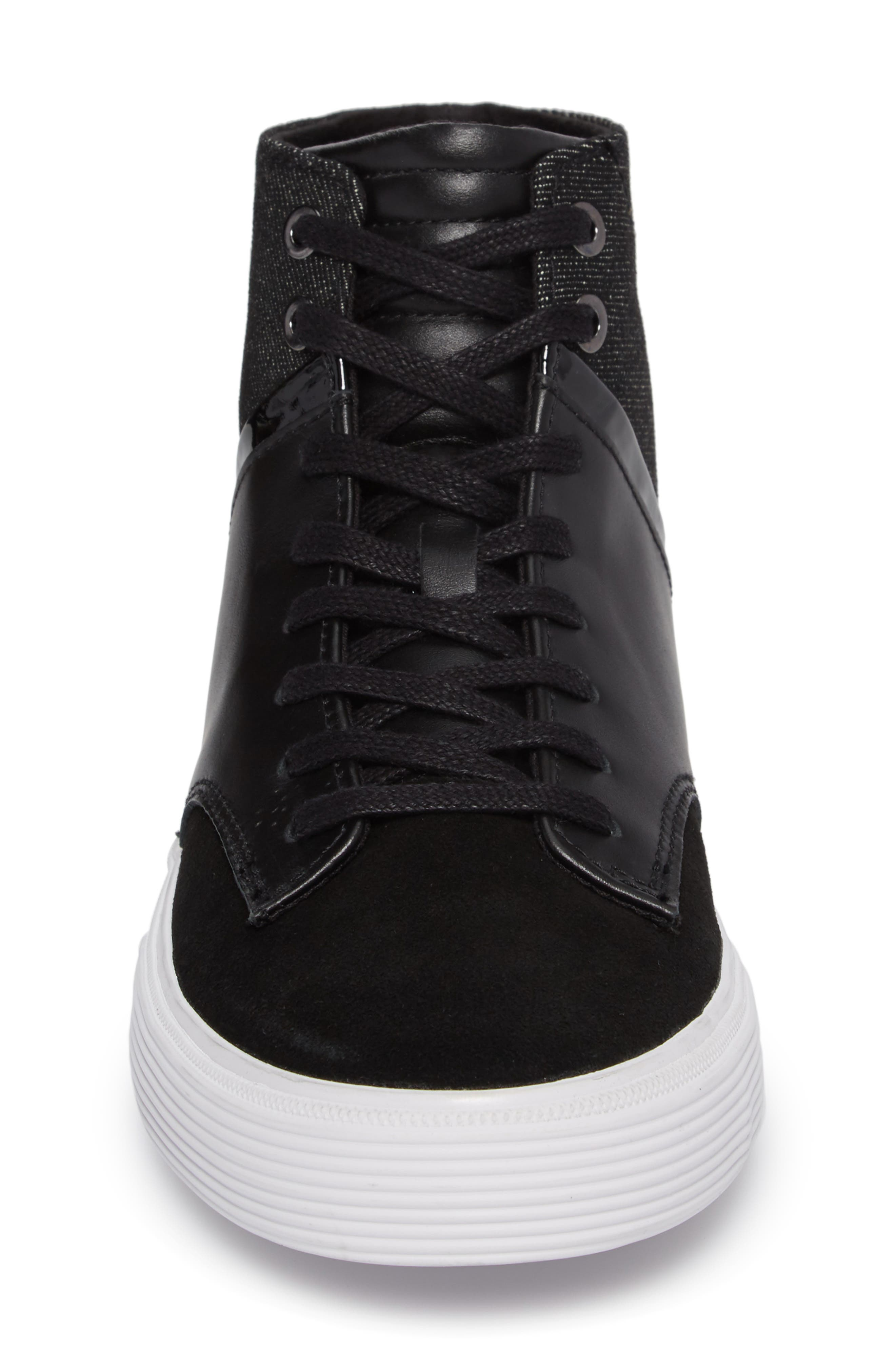 Joe Mac High Top Sneaker,                             Alternate thumbnail 4, color,                             Black Leather
