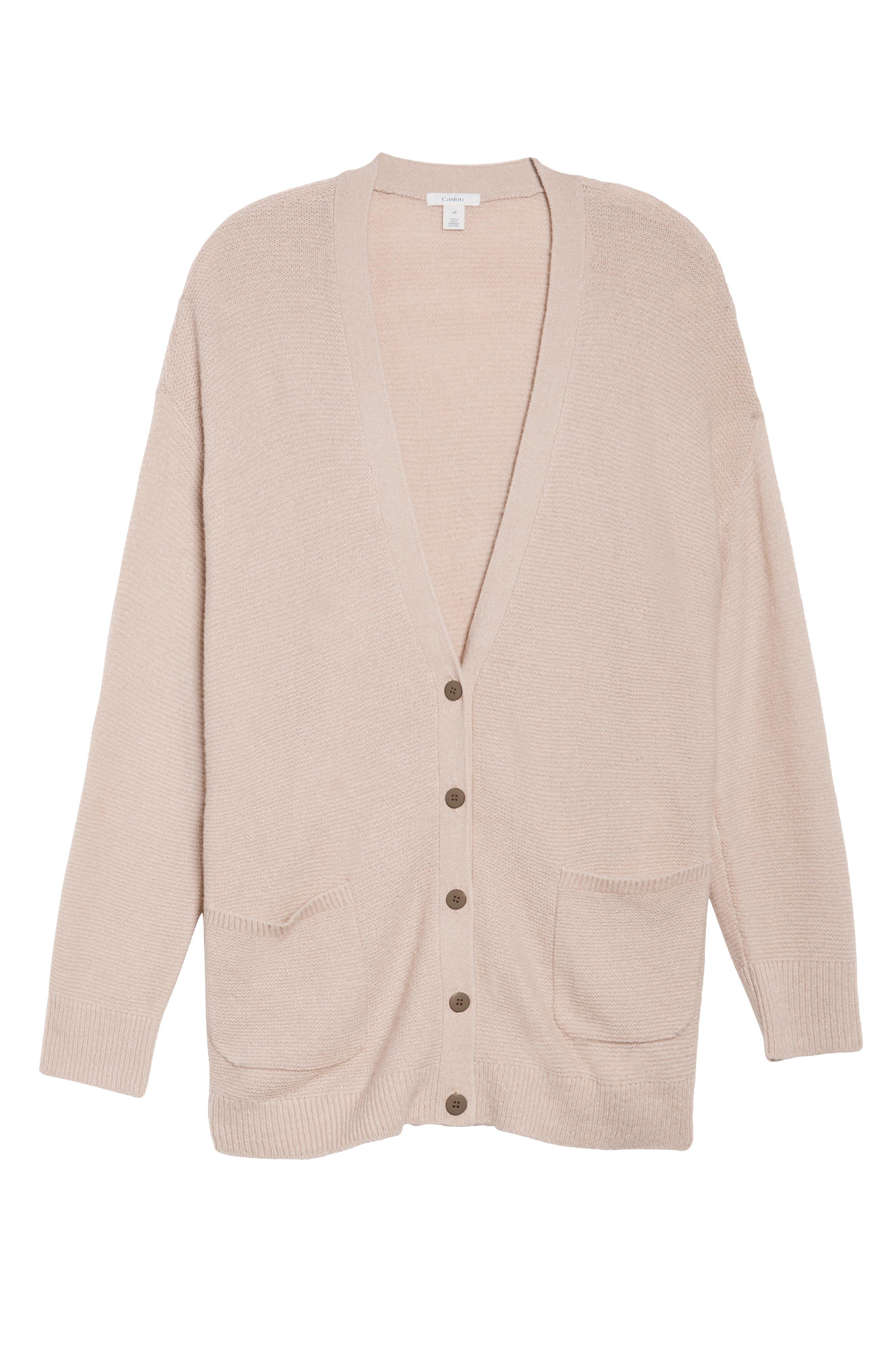 Alternate Image 6  - Caslon® Long V-Neck Wool Blend Cardigan (Plus Size)