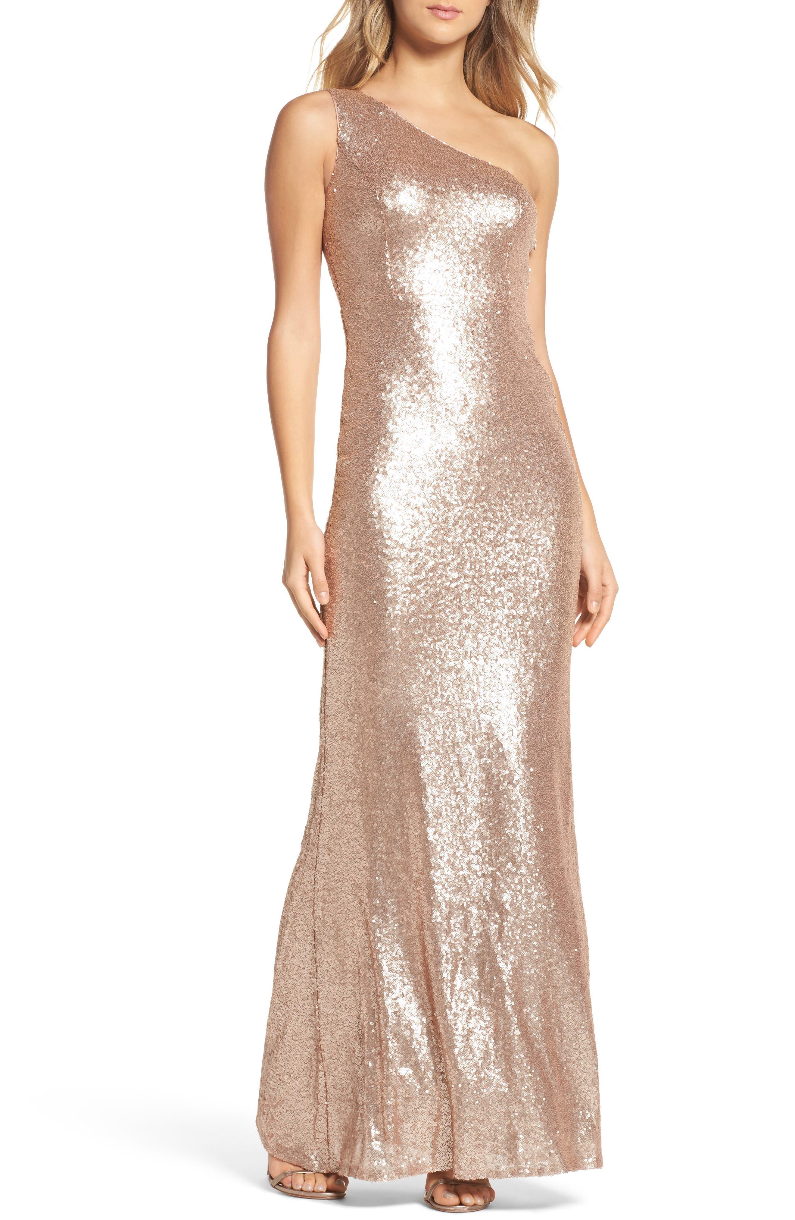 Sequin One-Shoulder Trumpet Gown,                         Main,                         color, Matte Rose Gold