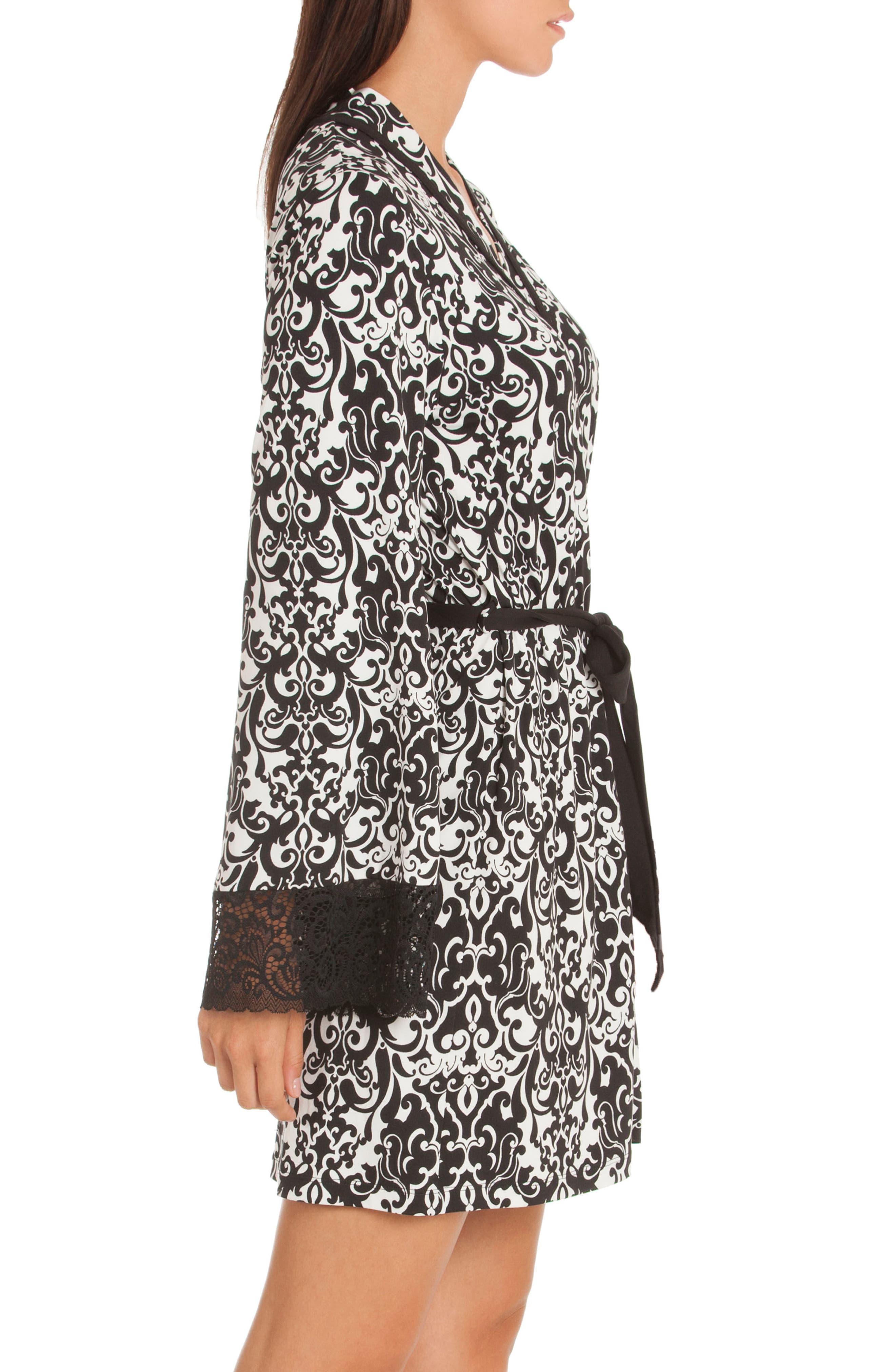 Konya Short Robe,                             Alternate thumbnail 3, color,                             Black/ Ivory