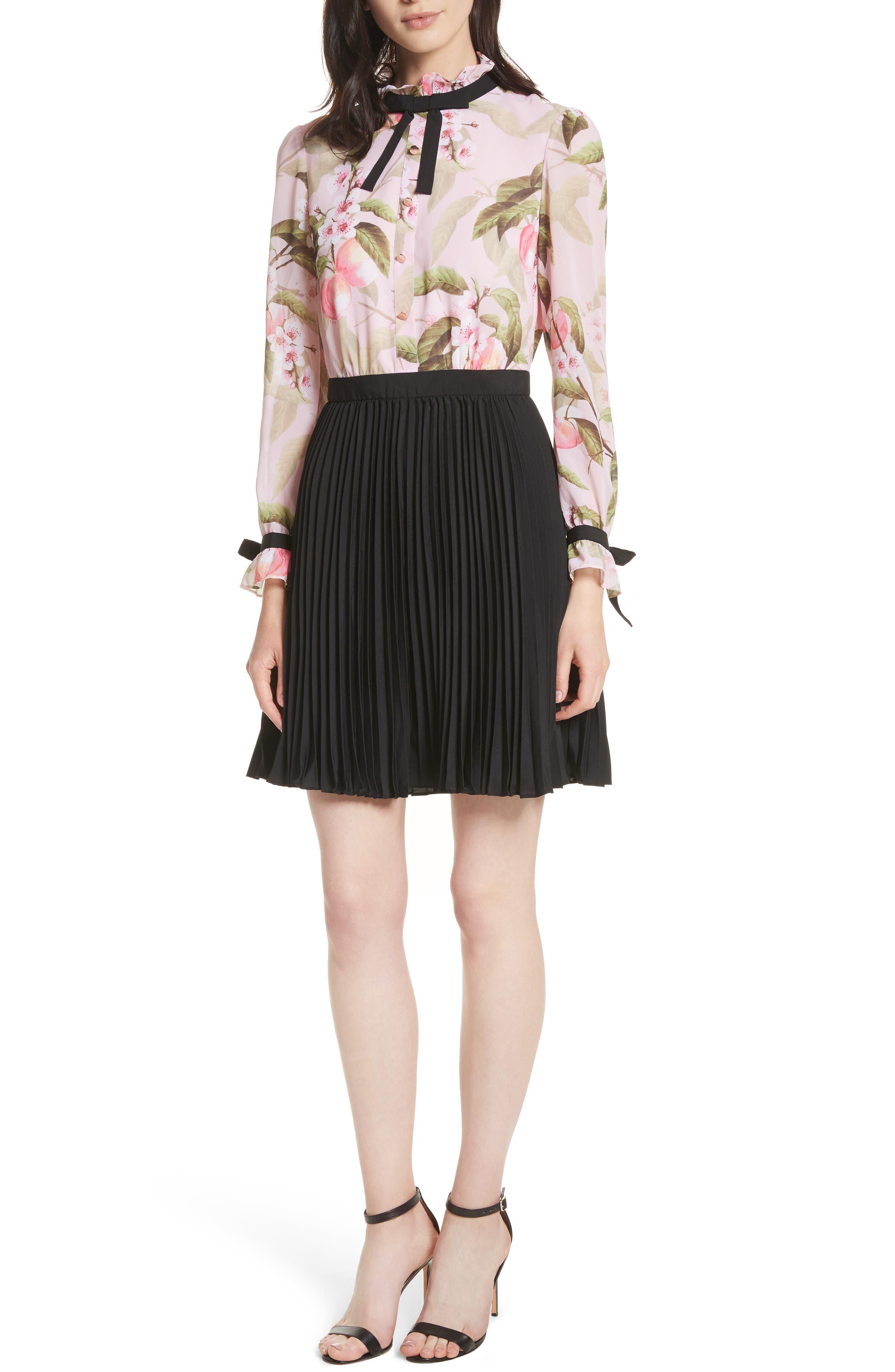 Peach Blossom Pleat Shirtdress,                             Main thumbnail 1, color,                             Light Pink