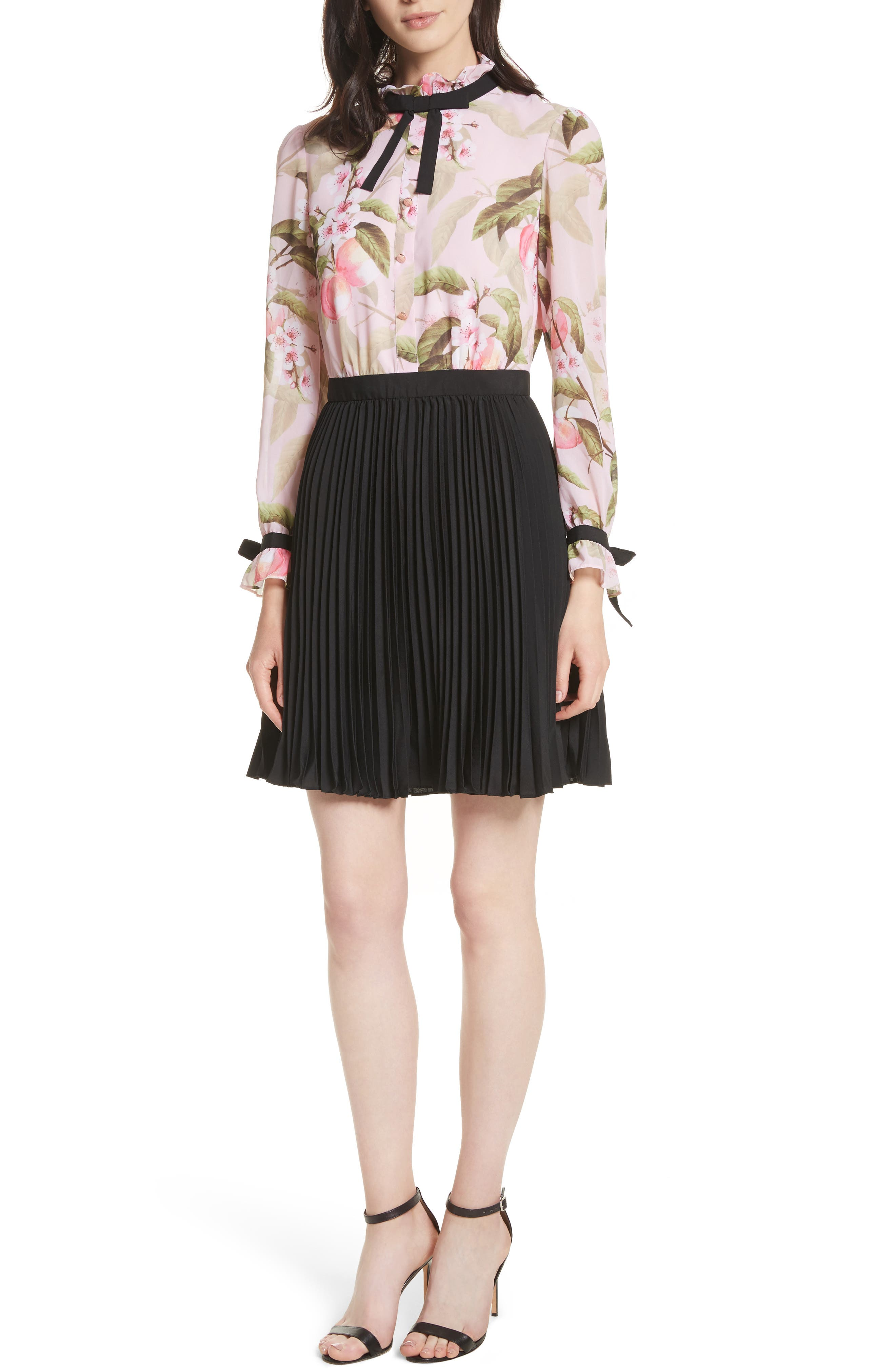 Ted Baker London Peach Blossom Pleat Shirtdress