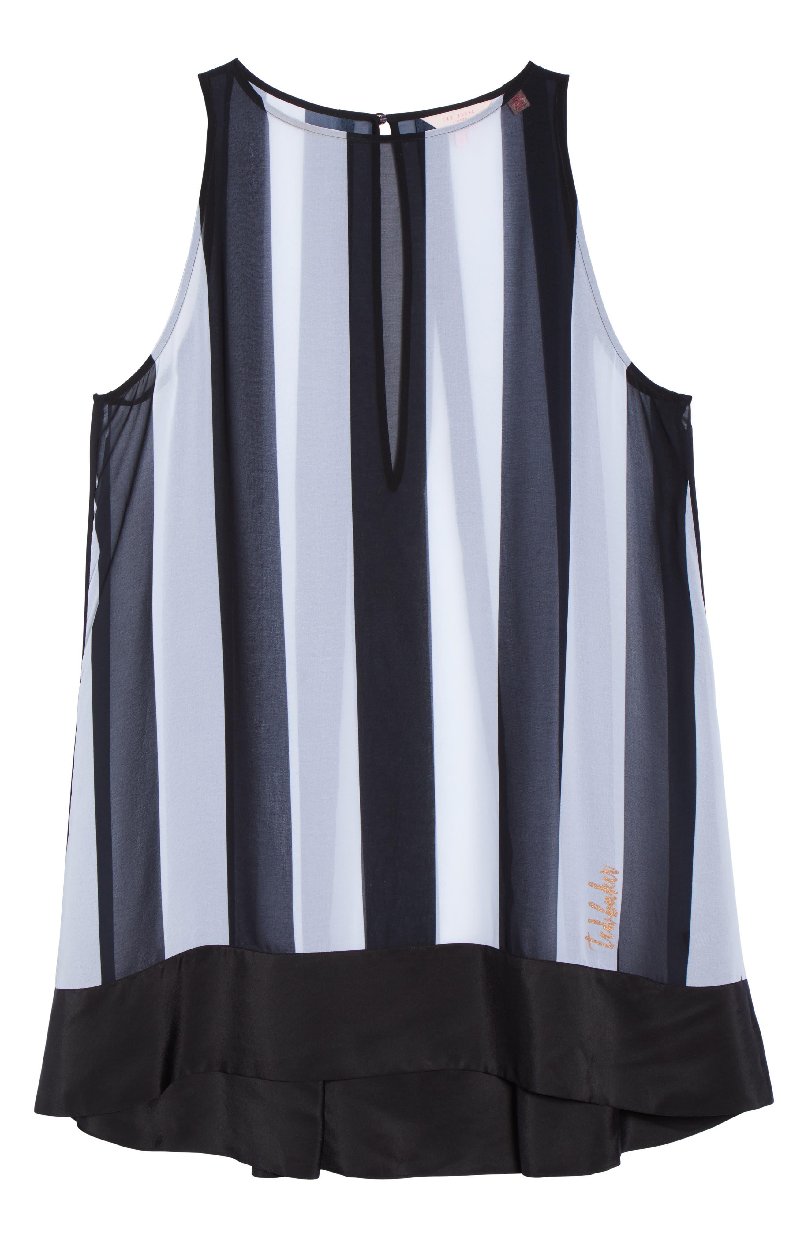 Monochrome Stripe Cover-Up Dress,                             Alternate thumbnail 6, color,                             Black