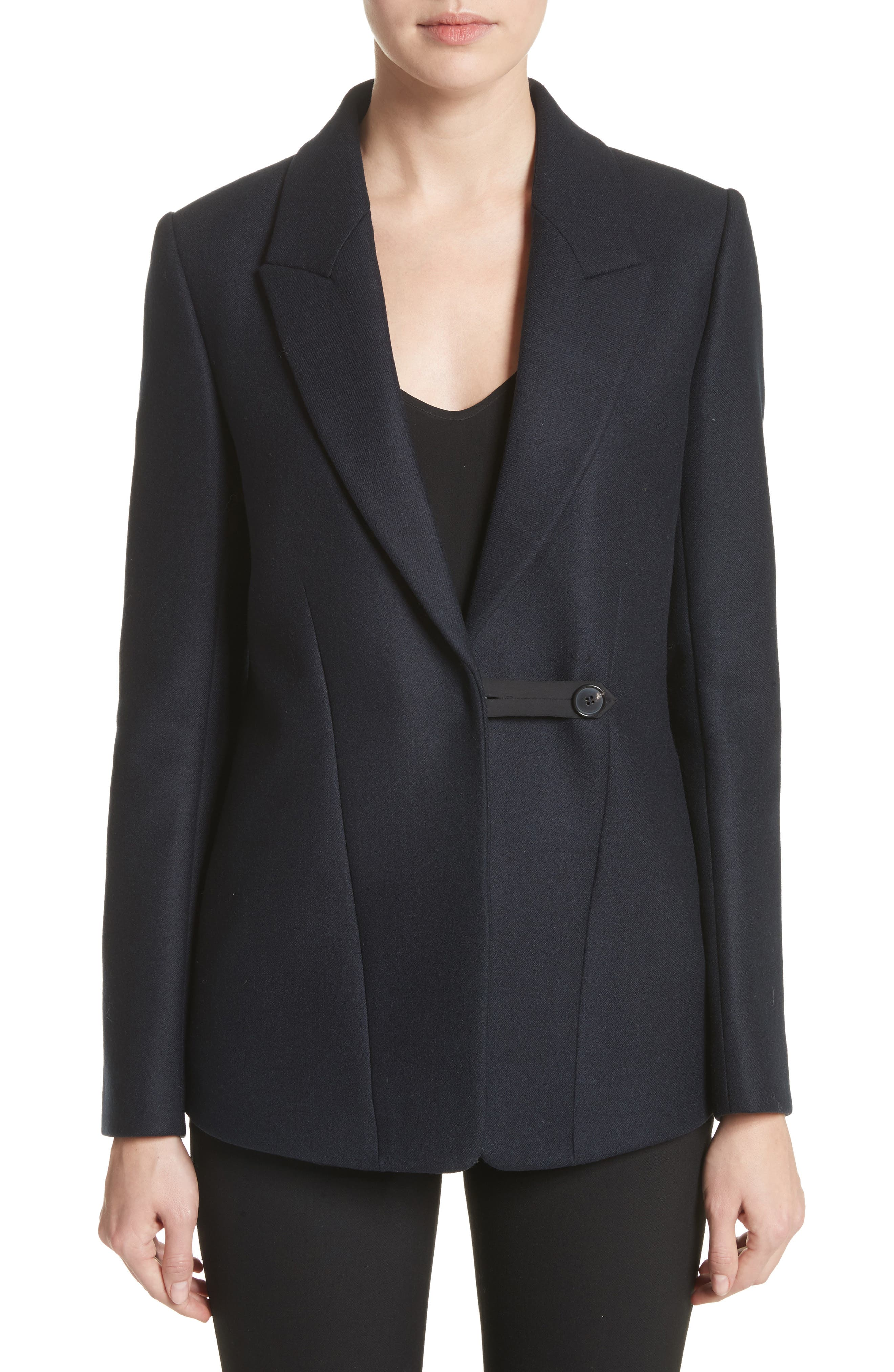 Fluid Back Double Breasted Jacket,                         Main,                         color, Navy/ Black