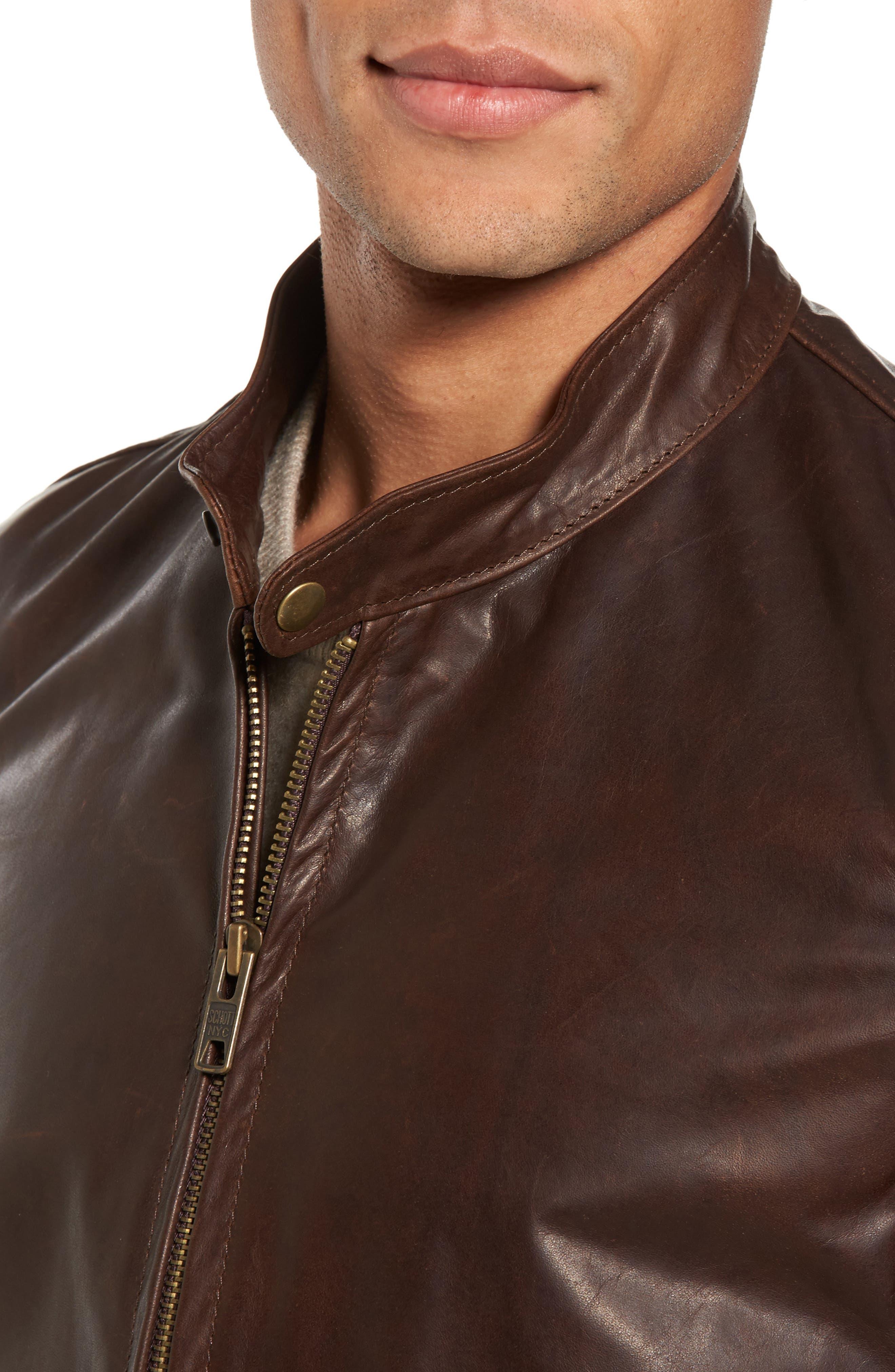 Café Racer Unlined Cowhide Leather Jacket,                             Alternate thumbnail 4, color,                             Brown