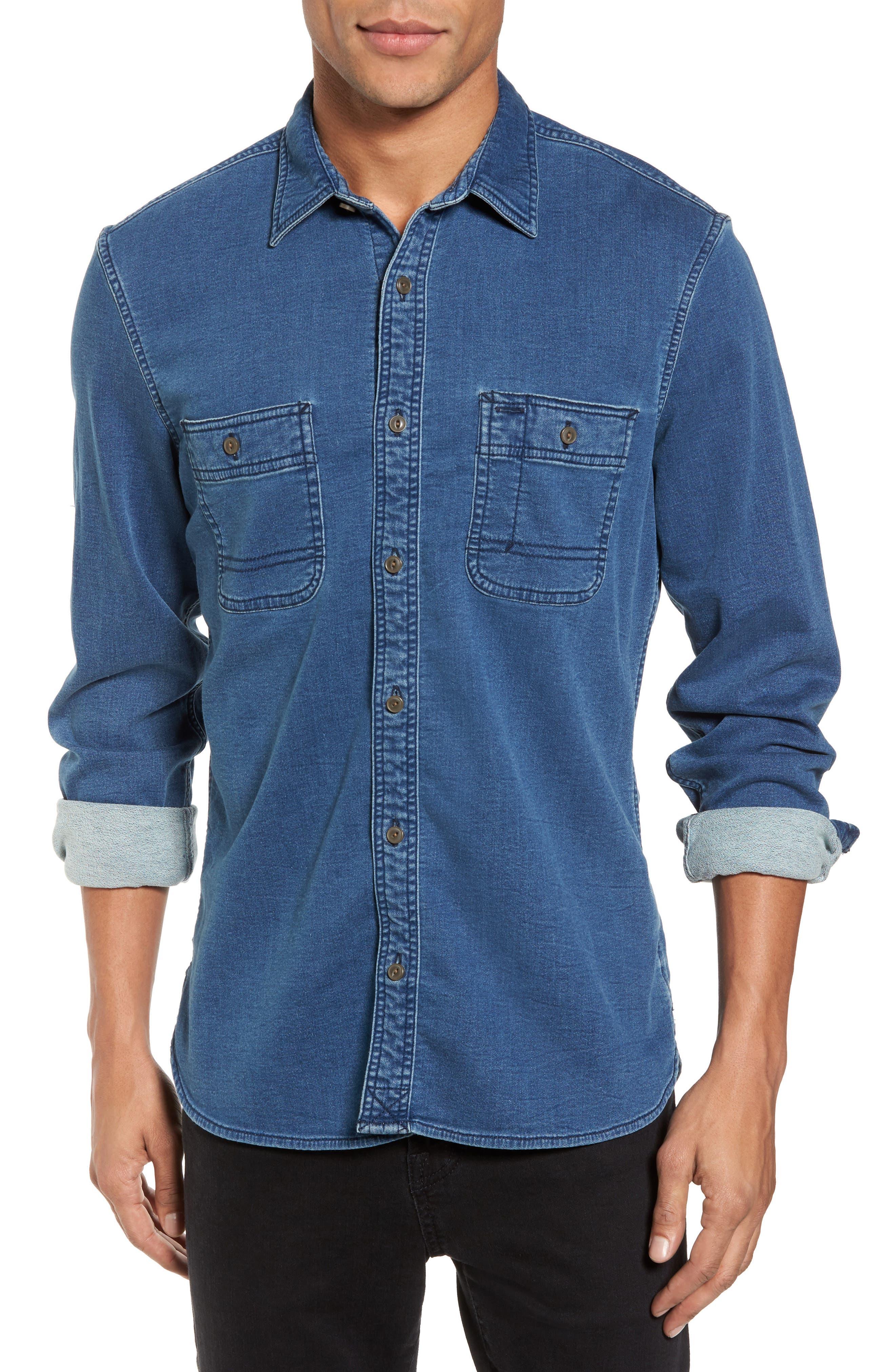 Trim Fit Utility Wash Knit Denim Shirt,                         Main,                         color, Blue Vintage Washed Solid