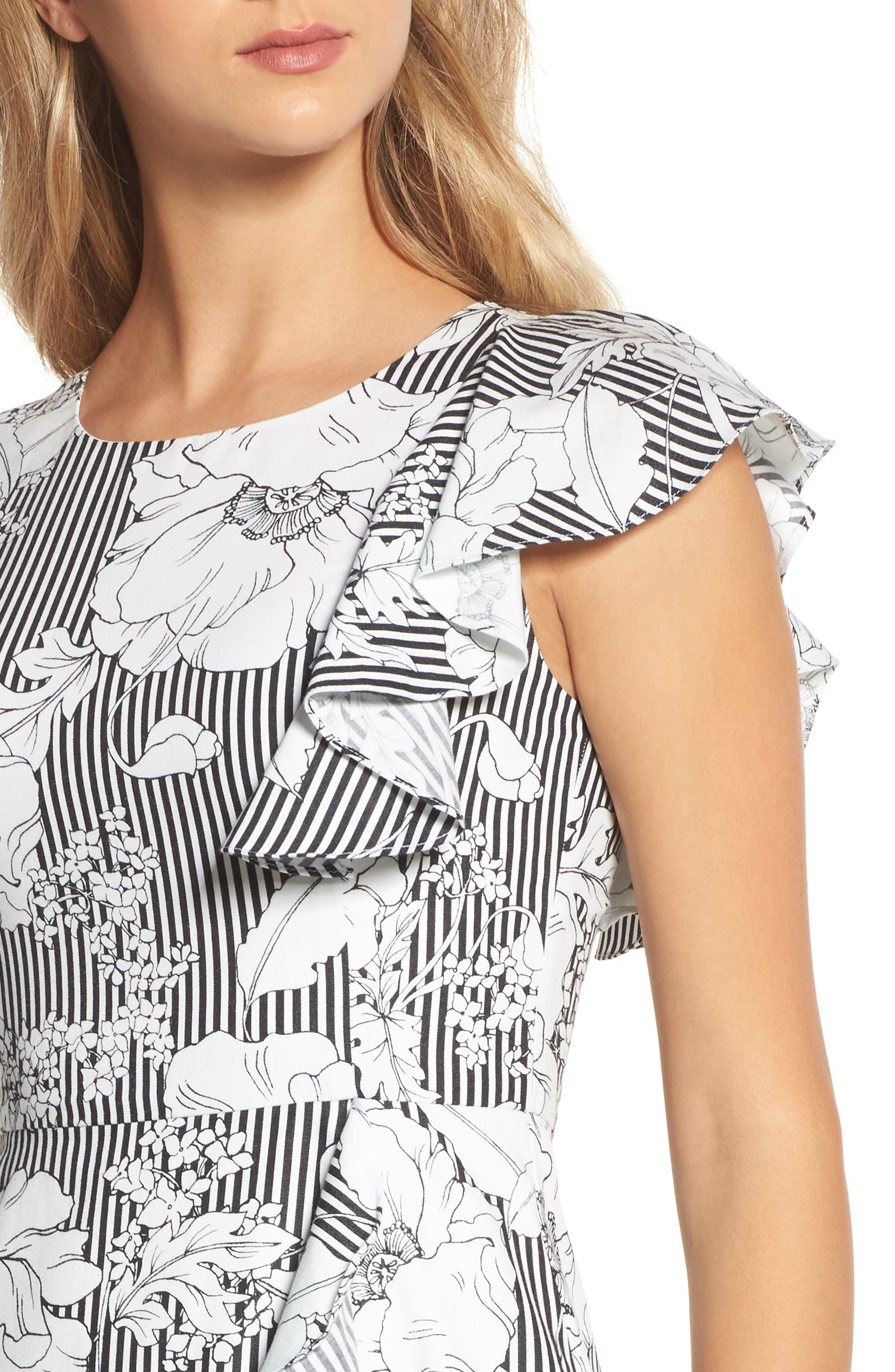 Floral Asymmetrical Ruffle Dress,                             Alternate thumbnail 4, color,                             Black White Floral