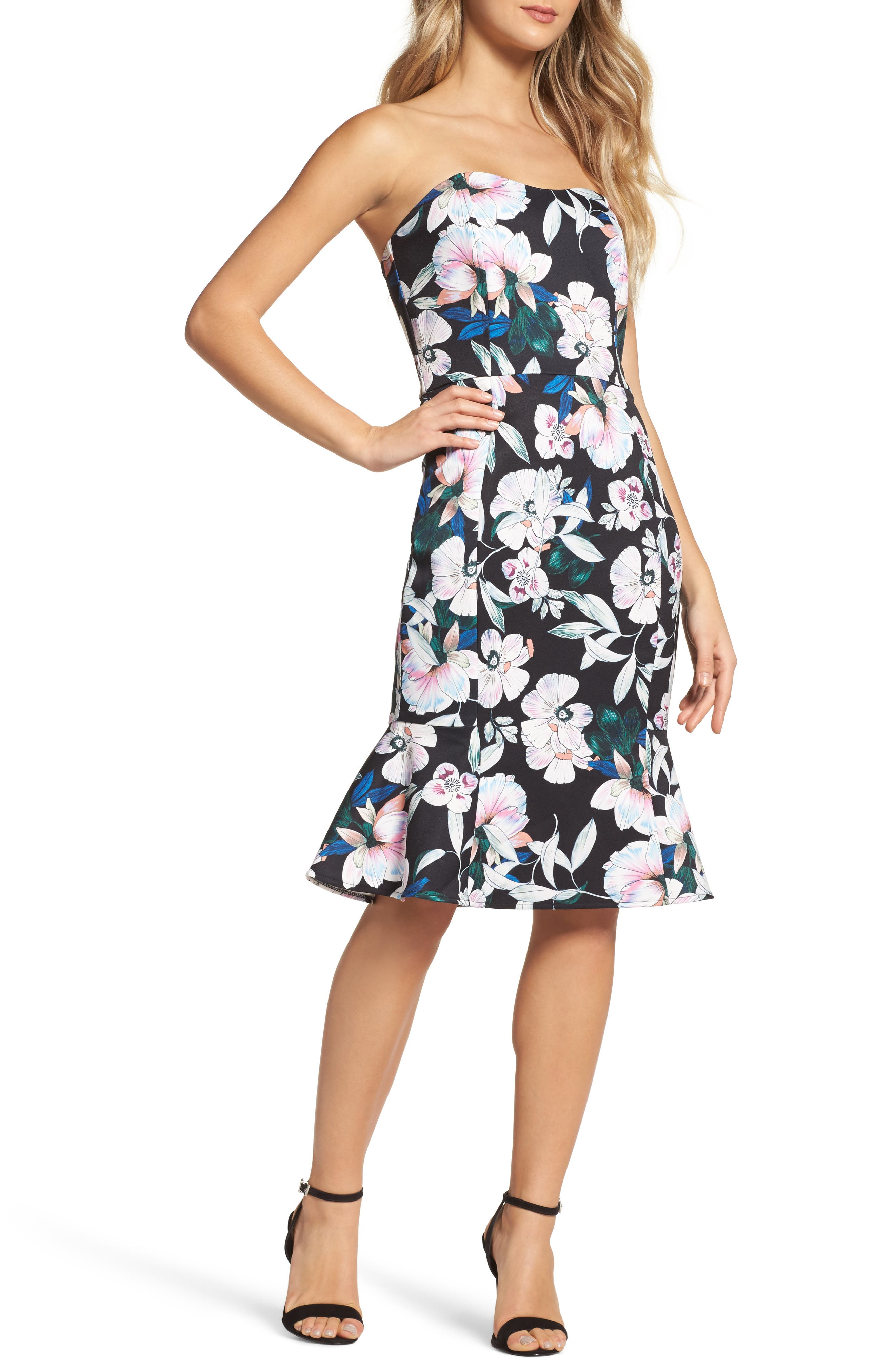 Whimsical Blooms Strapless Dress,                             Main thumbnail 1, color,                             Print