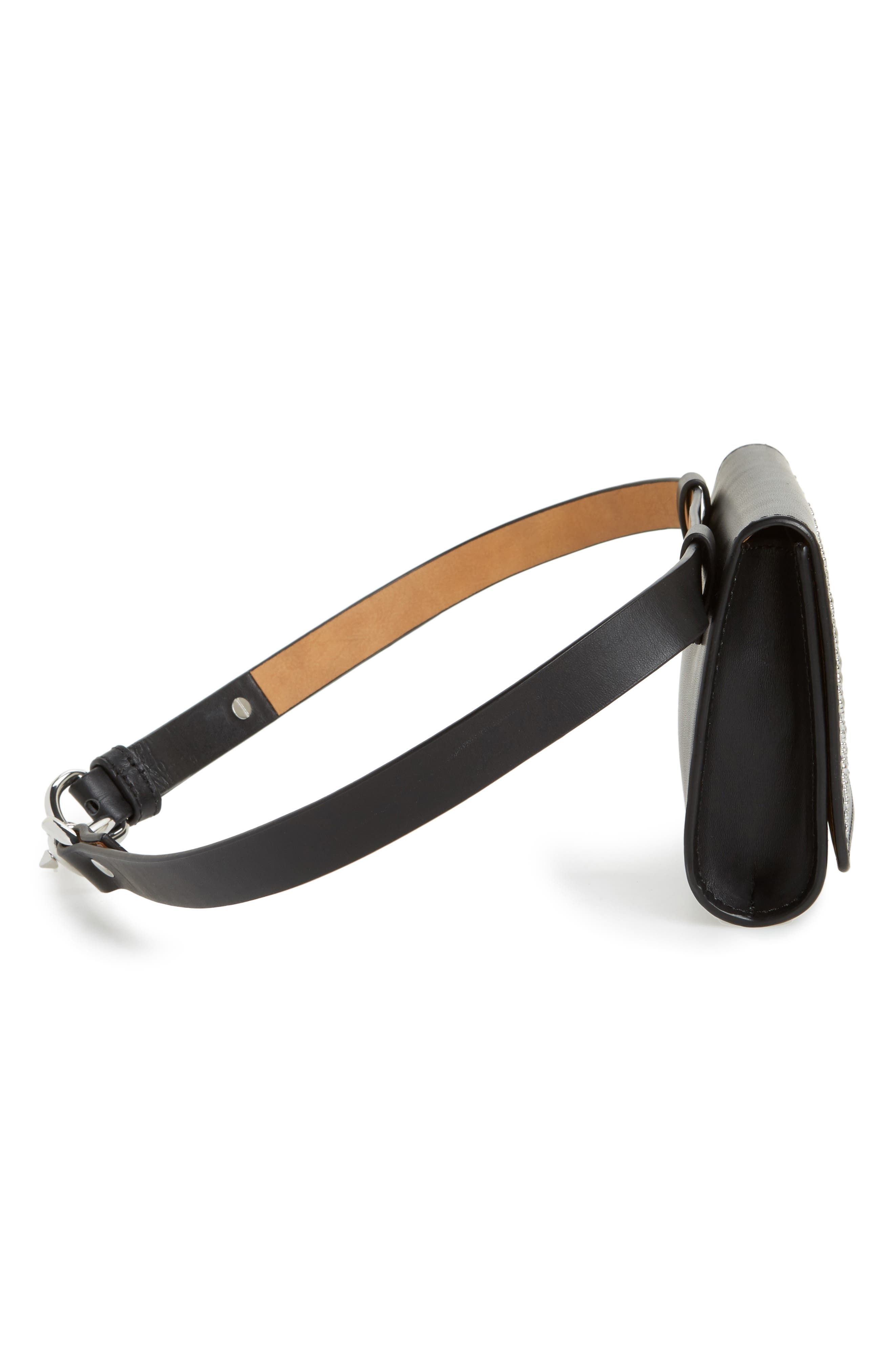 Erin Studded Calfskin Leather Belt Bag,                             Alternate thumbnail 5, color,                             Black
