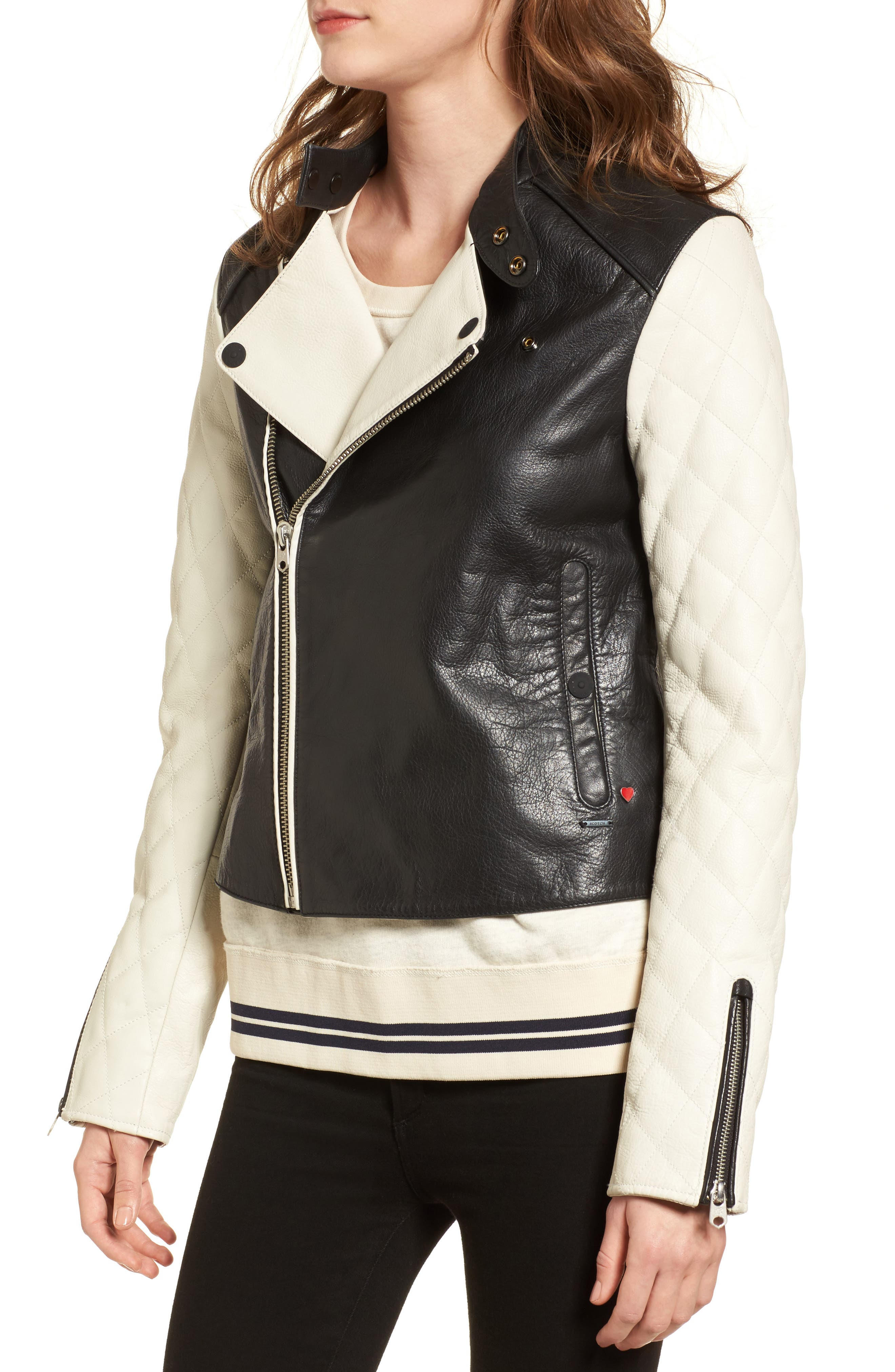 Quilted Sleeve Leather Biker Jacket,                             Alternate thumbnail 4, color,                             Black / Off White