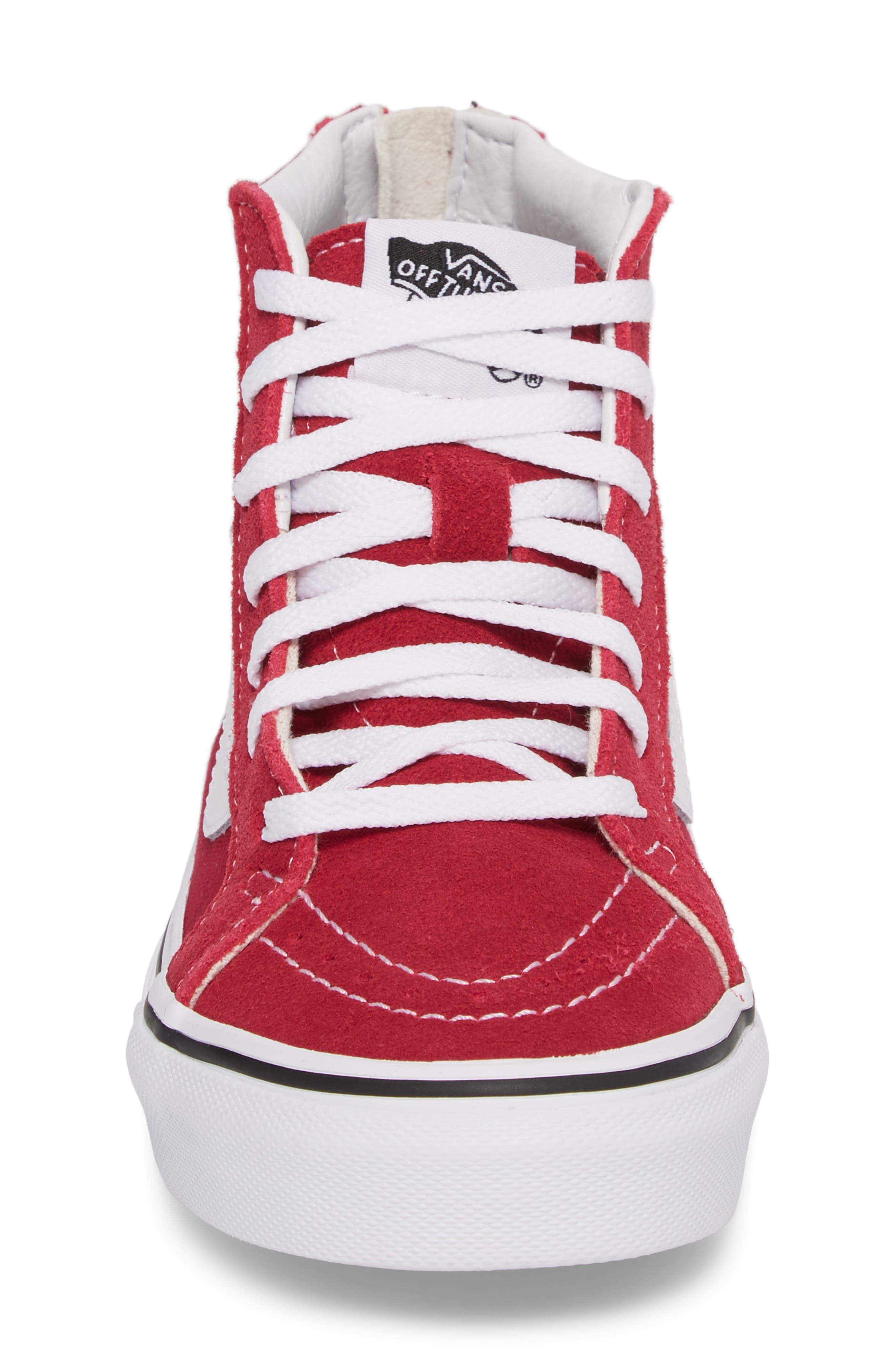'Sk8-Hi' Zip Sneaker,                             Alternate thumbnail 4, color,                             Persian Red/ True White