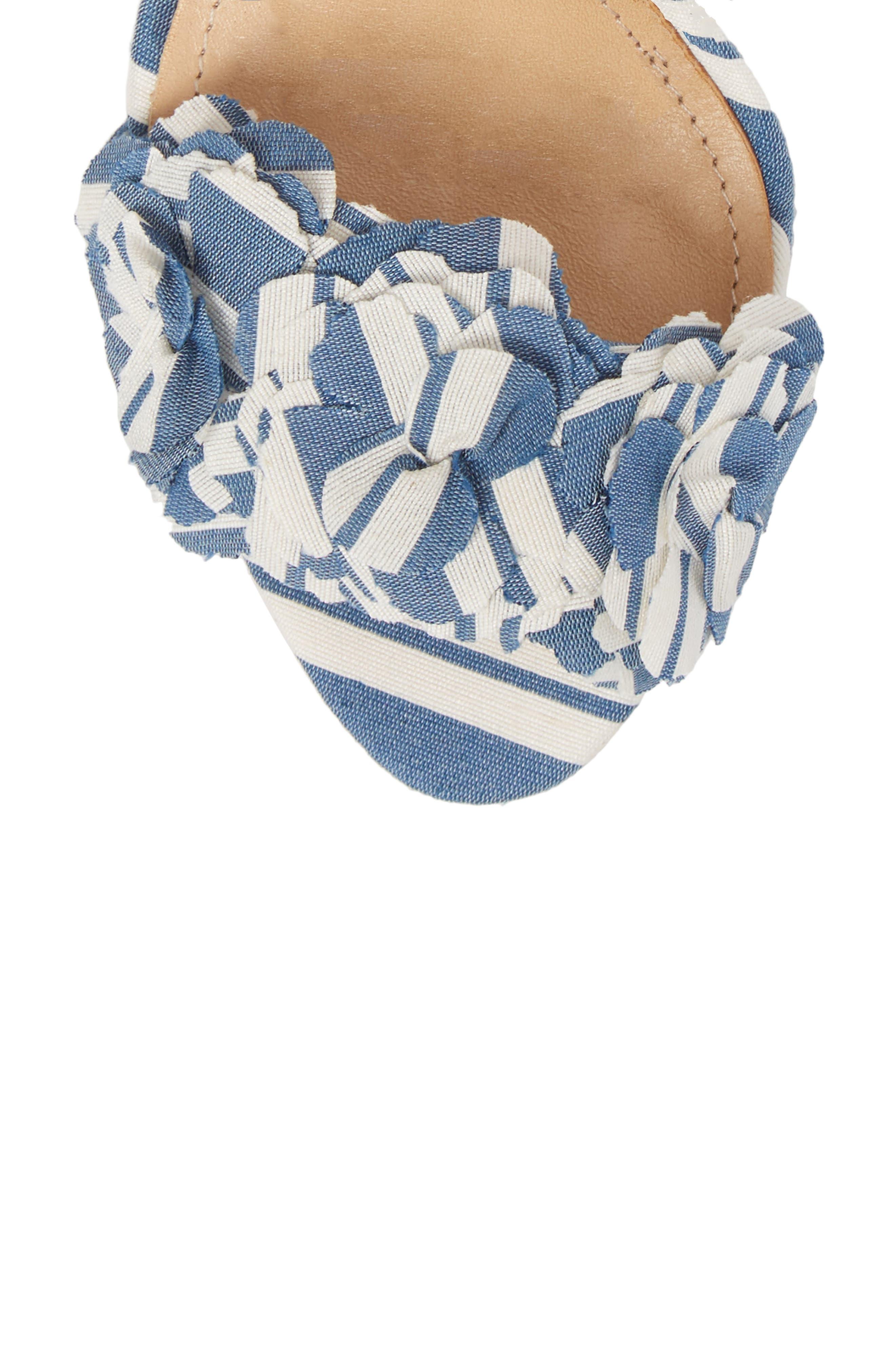 Aida Flower Appliqué Sandal,                             Alternate thumbnail 5, color,                             Dress Blue
