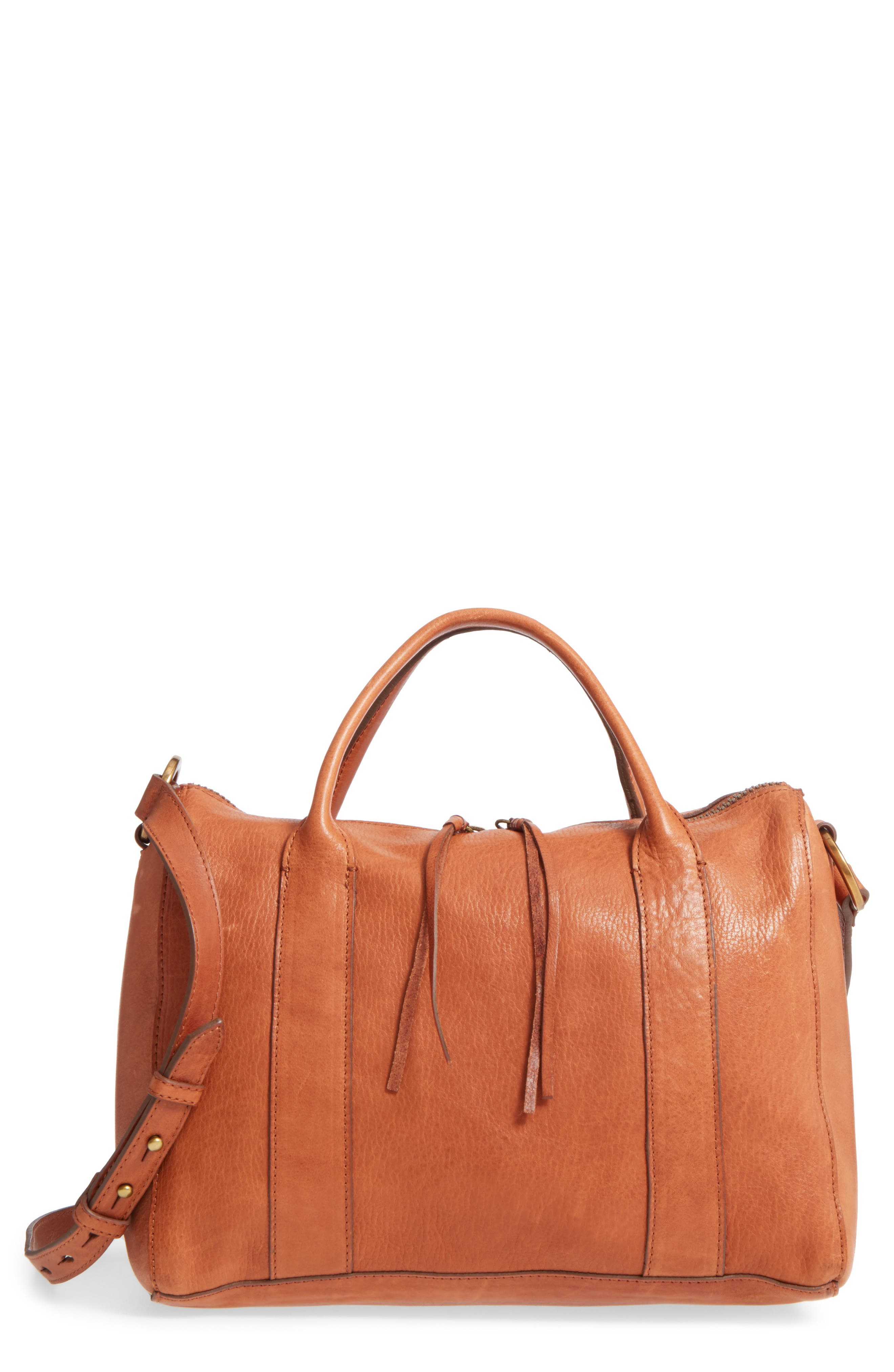 O-RING LEATHER SATCHEL - BROWN