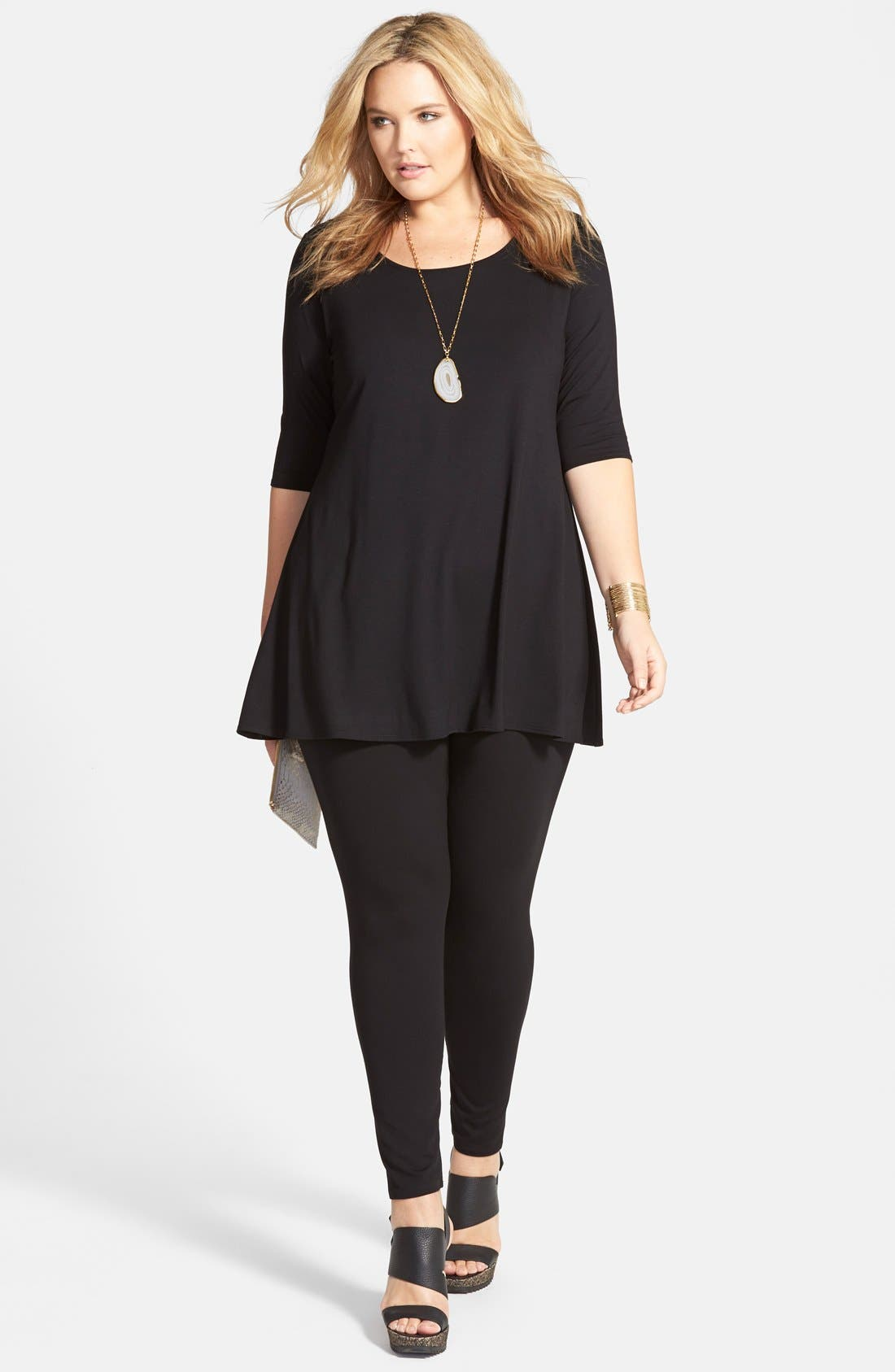 Eileen Fisher Jersey Tunic & Ankle Leggings (Plus Size)