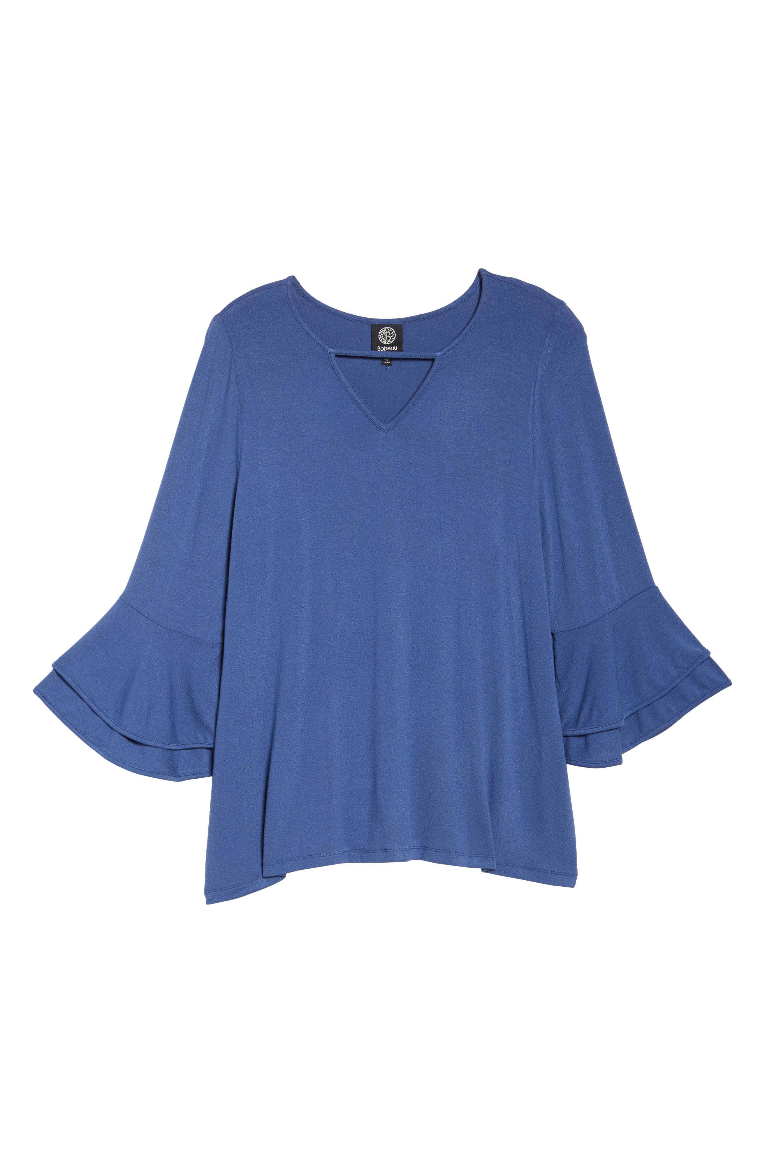 Alternate Image 6  - Bobeau Double Ruffle Sleeve Top (Plus Size)