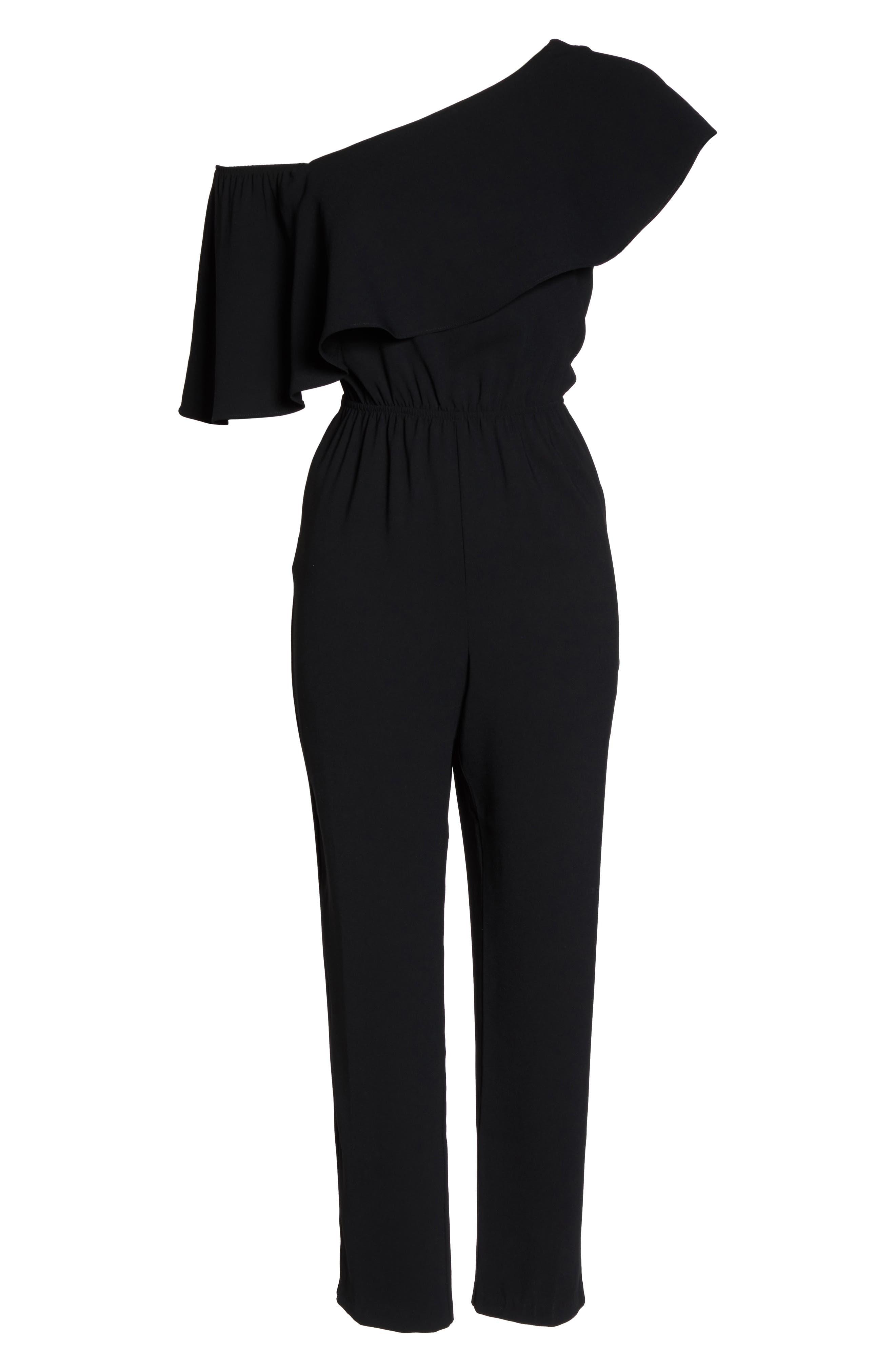 Le Boulevard One-Shoulder Jumpsuit,                             Alternate thumbnail 7, color,                             Black