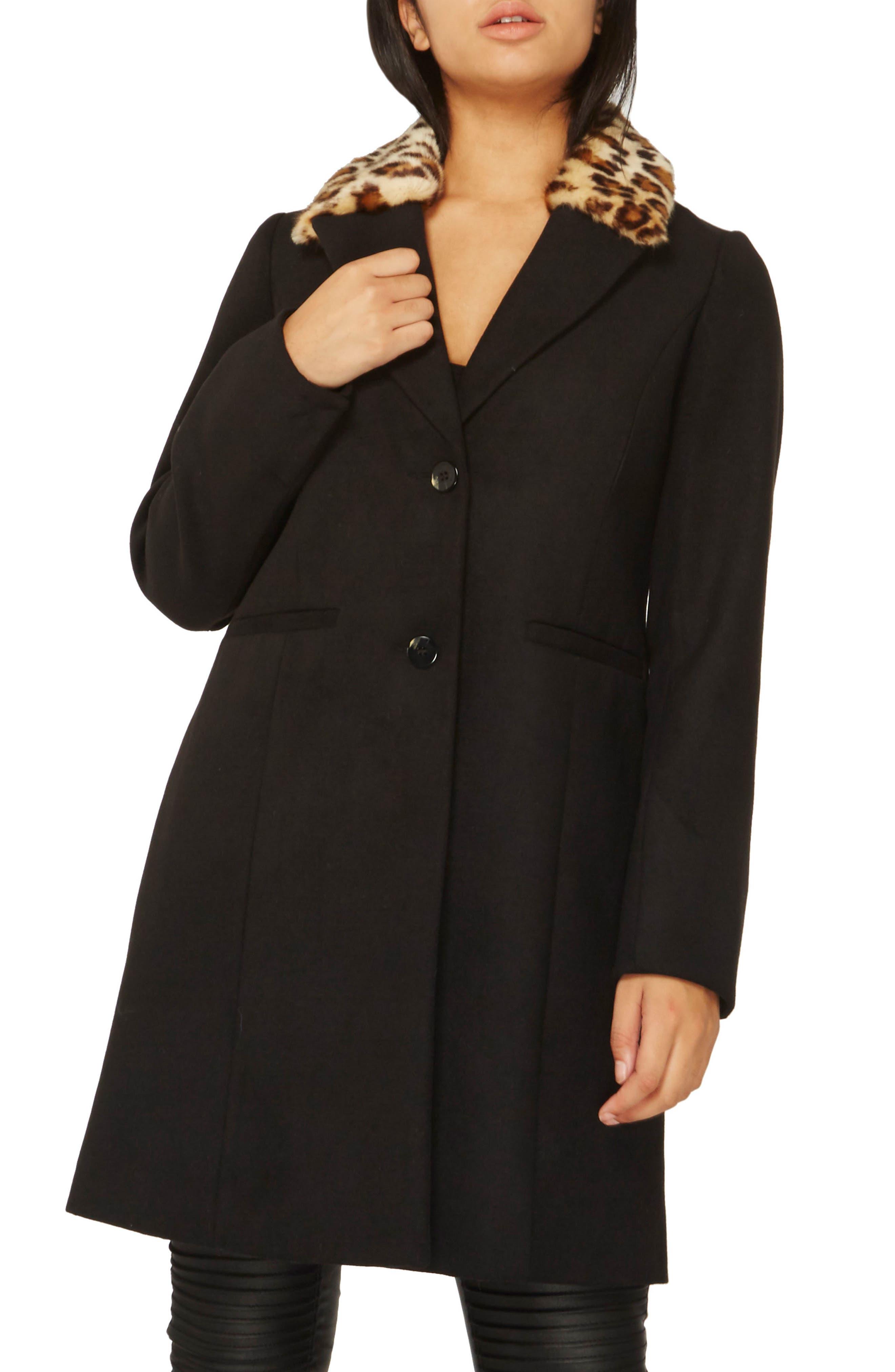 Coat with Faux Fur Collar,                         Main,                         color, Black