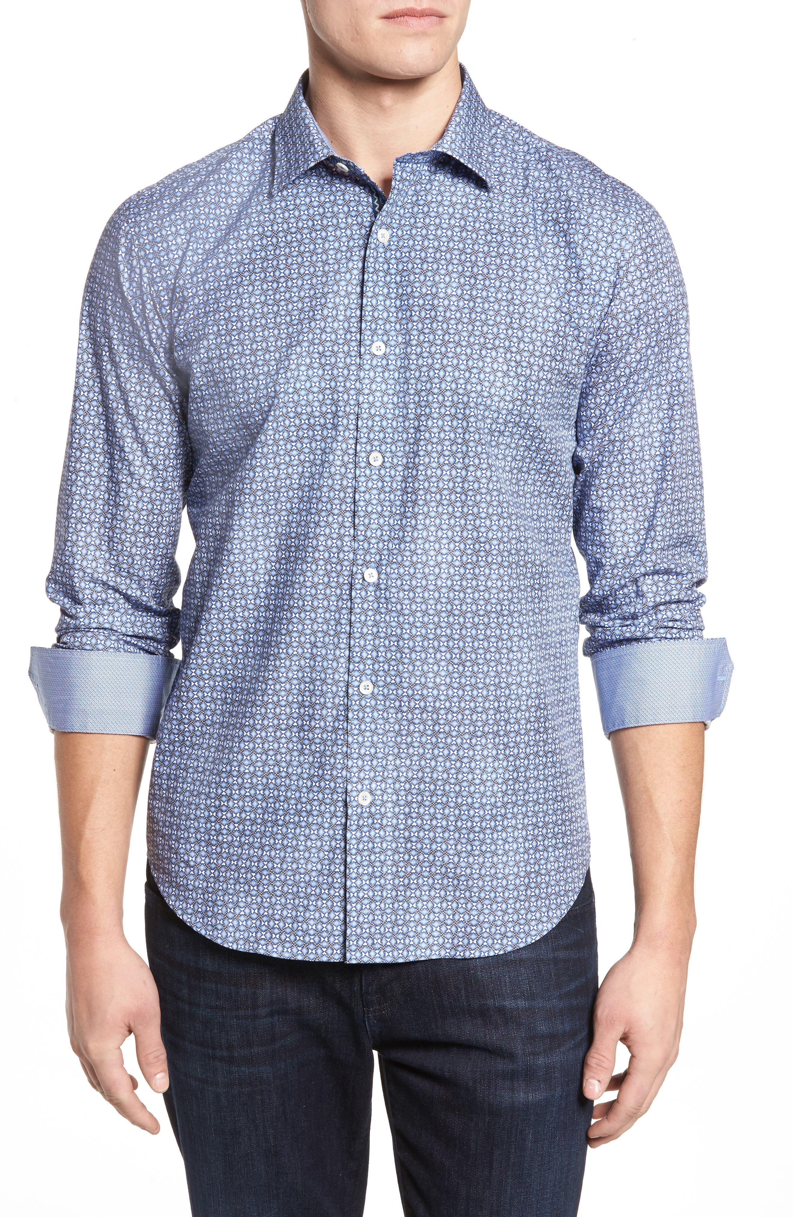 Shaped Fit Optic Print Sport Shirt,                         Main,                         color, Classic Blue