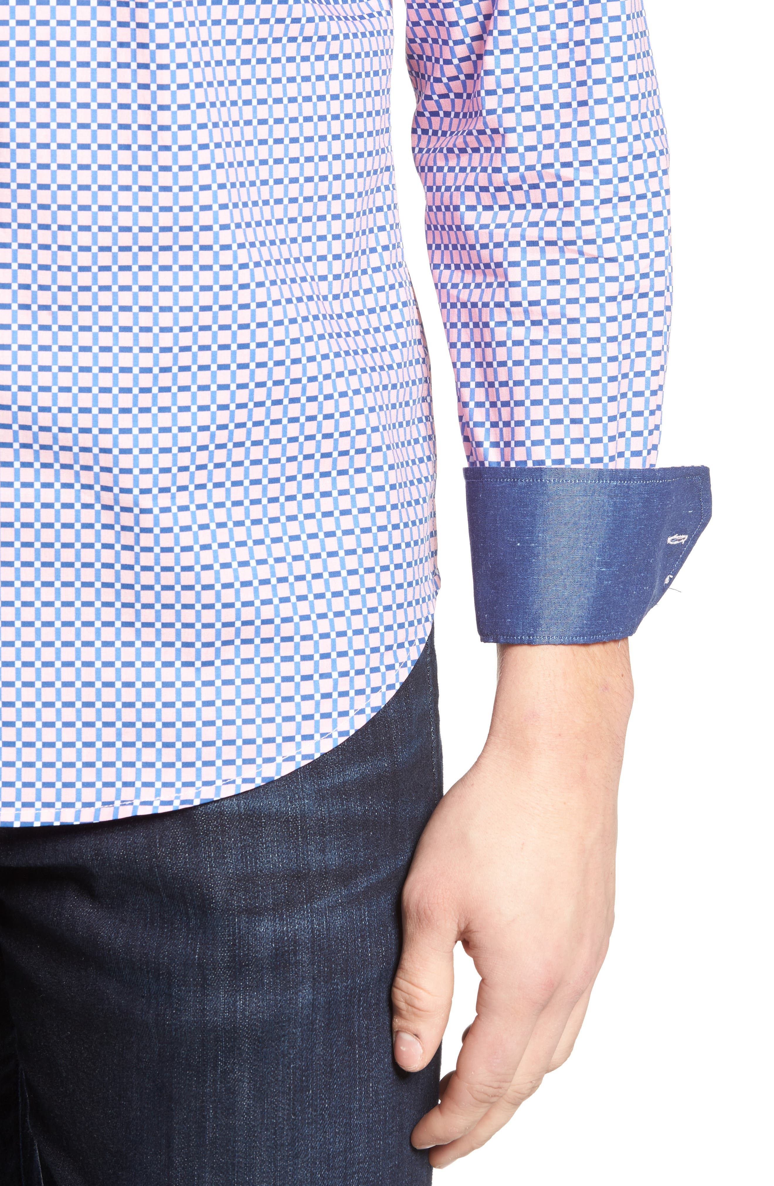 Alternate Image 4  - Bugatchi Shaped Fit Grid Print Sport Shirt