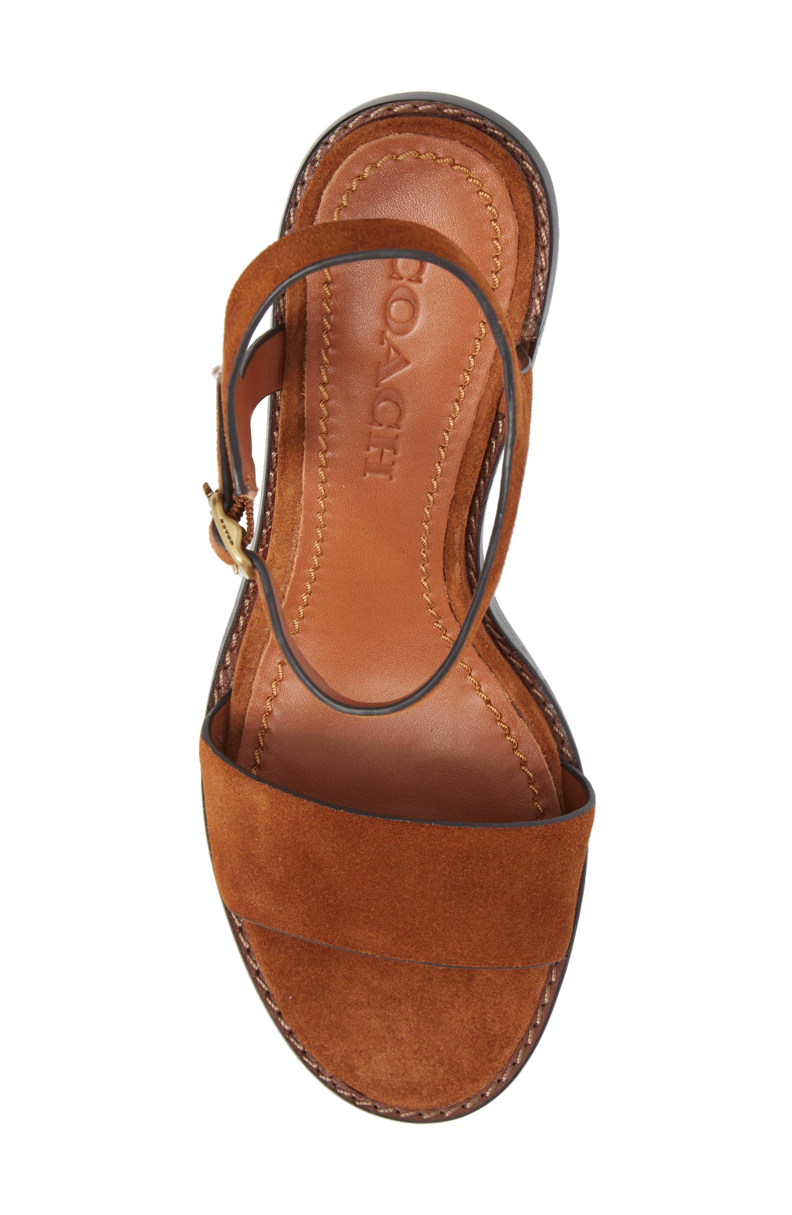 Column Heel Sandal,                             Alternate thumbnail 5, color,                             Saddle Suede