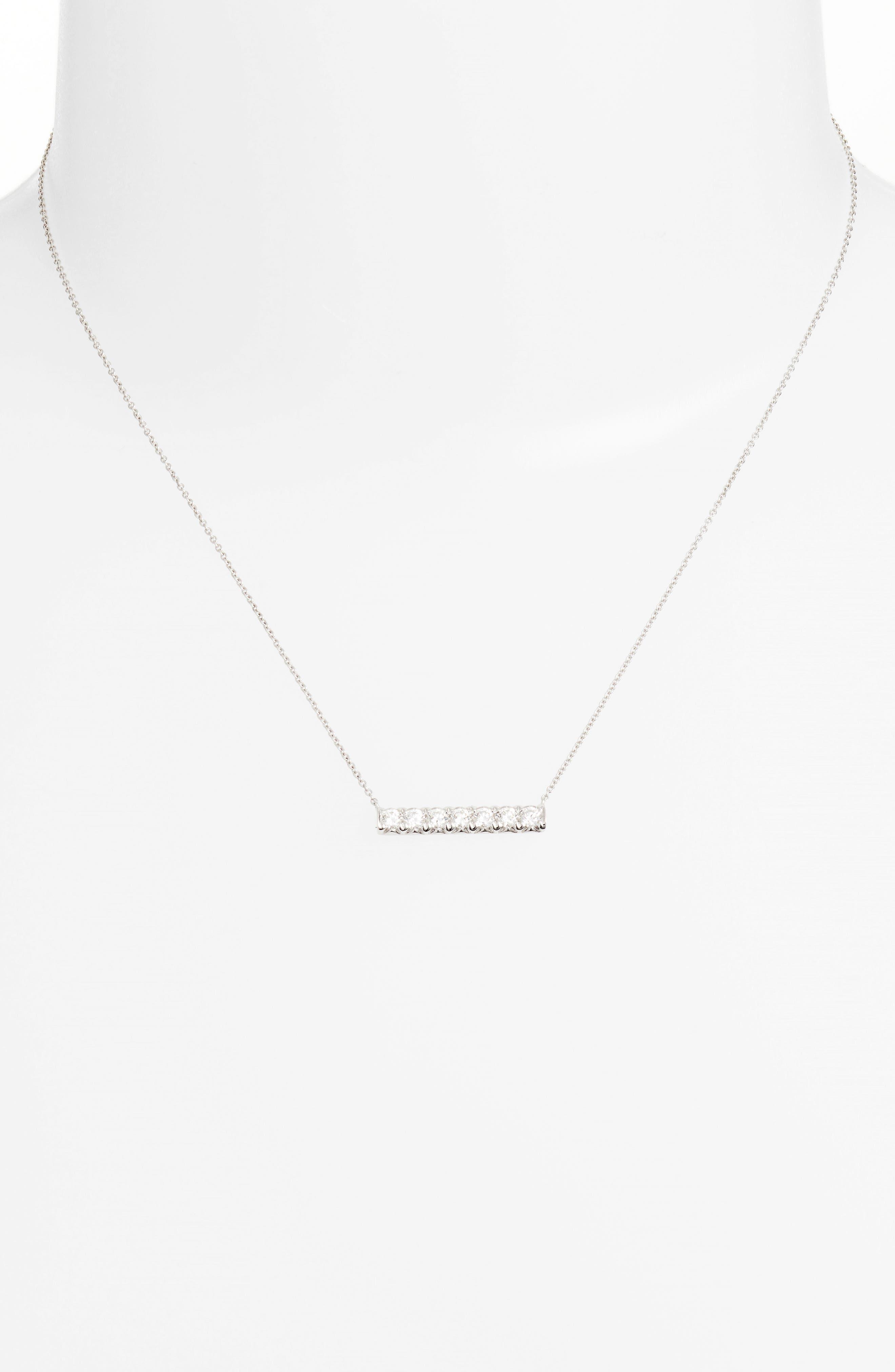 Kiera Diamond Pendant Necklace,                             Alternate thumbnail 2, color,                             White Gold