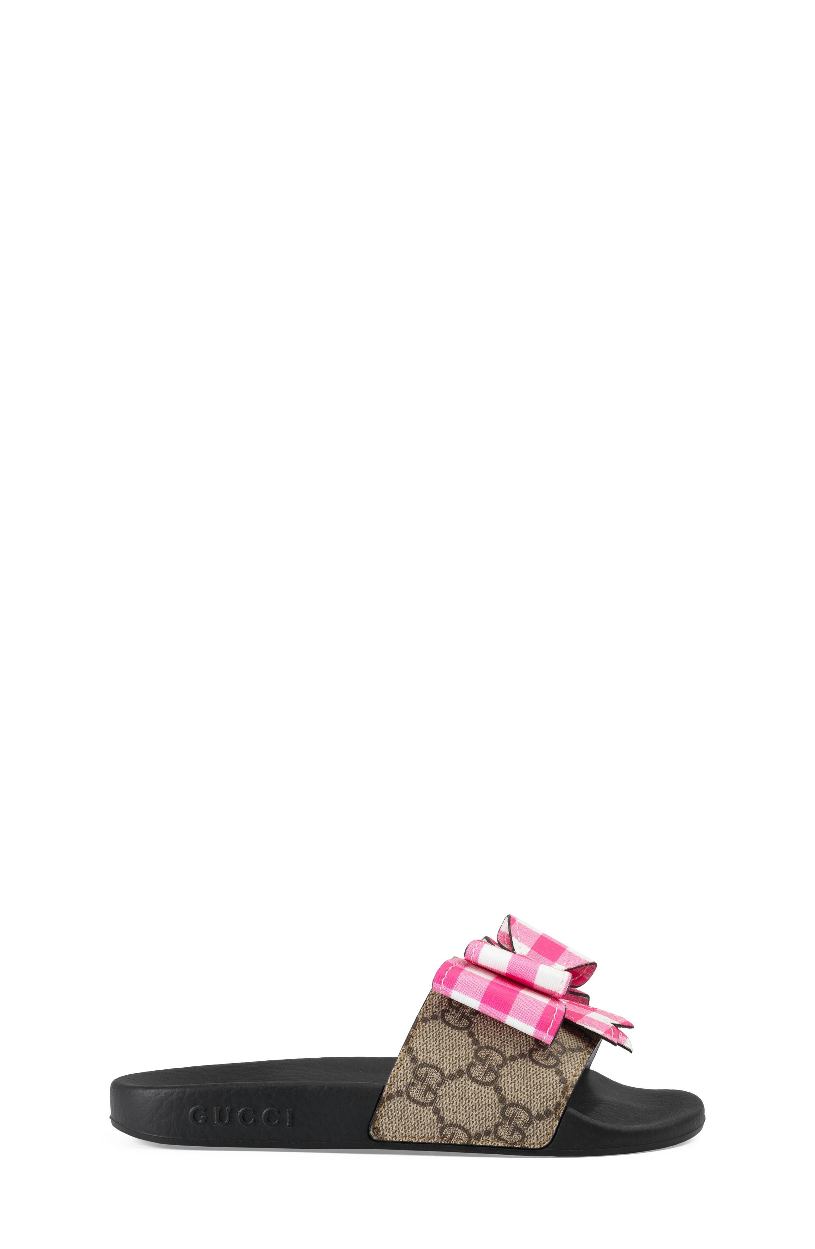 Pursuit Bow Slide,                             Alternate thumbnail 3, color,                             Beige/ Pink