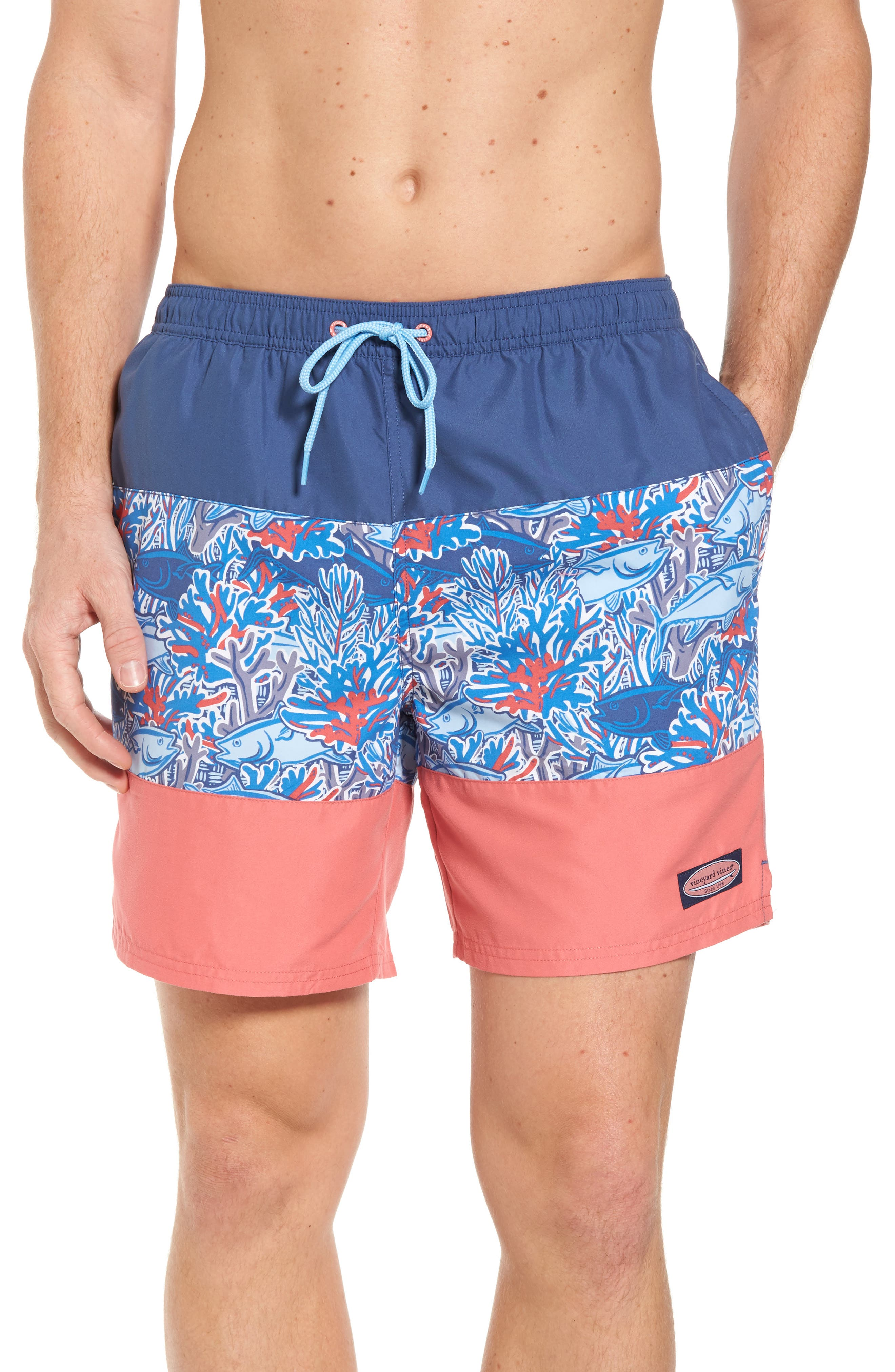 Chappy - Tuna in Coral Pieced Print Swim Trunks,                         Main,                         color, Moonshine