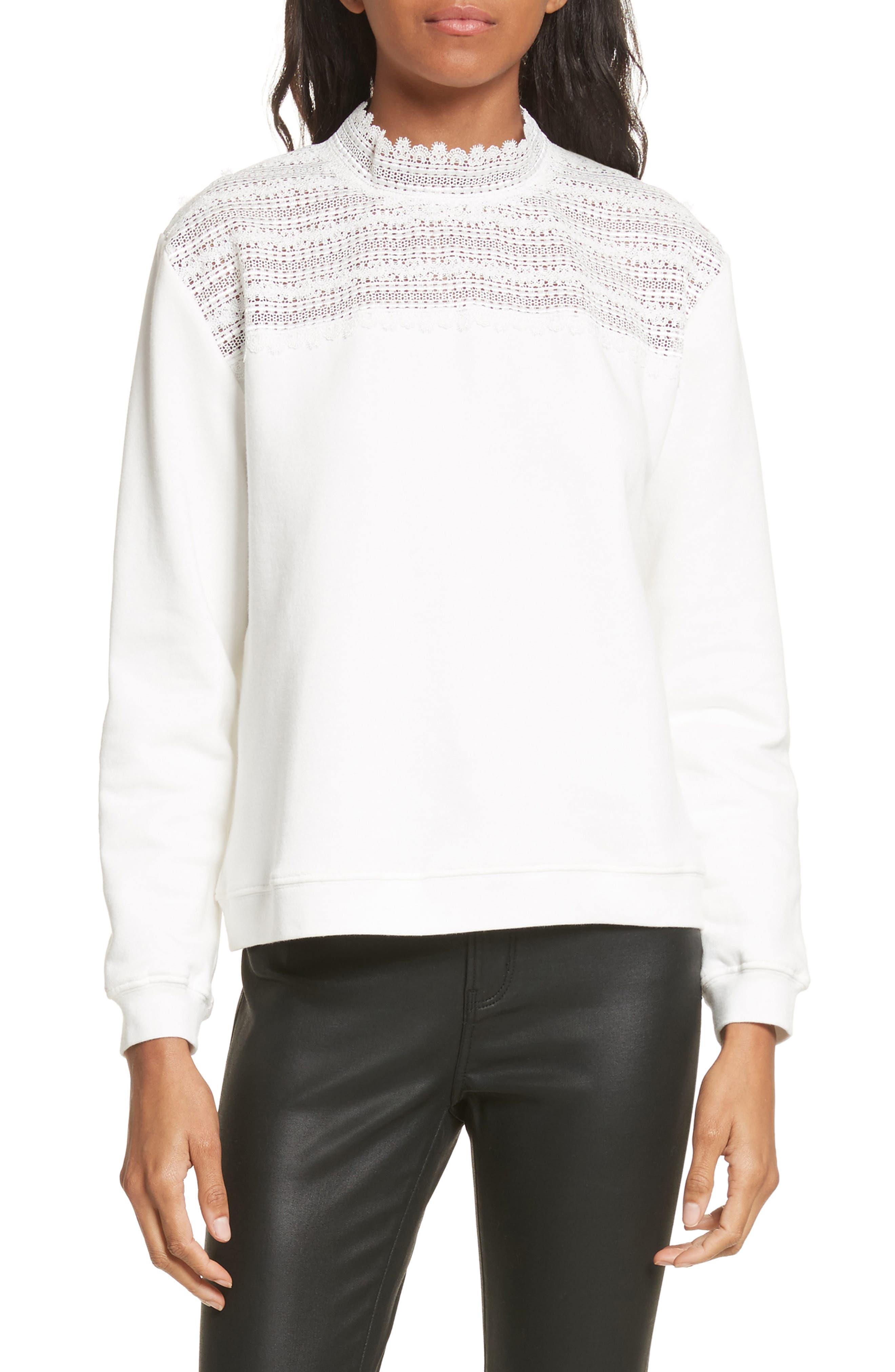 Lace Yoke Sweater,                         Main,                         color, Ivory